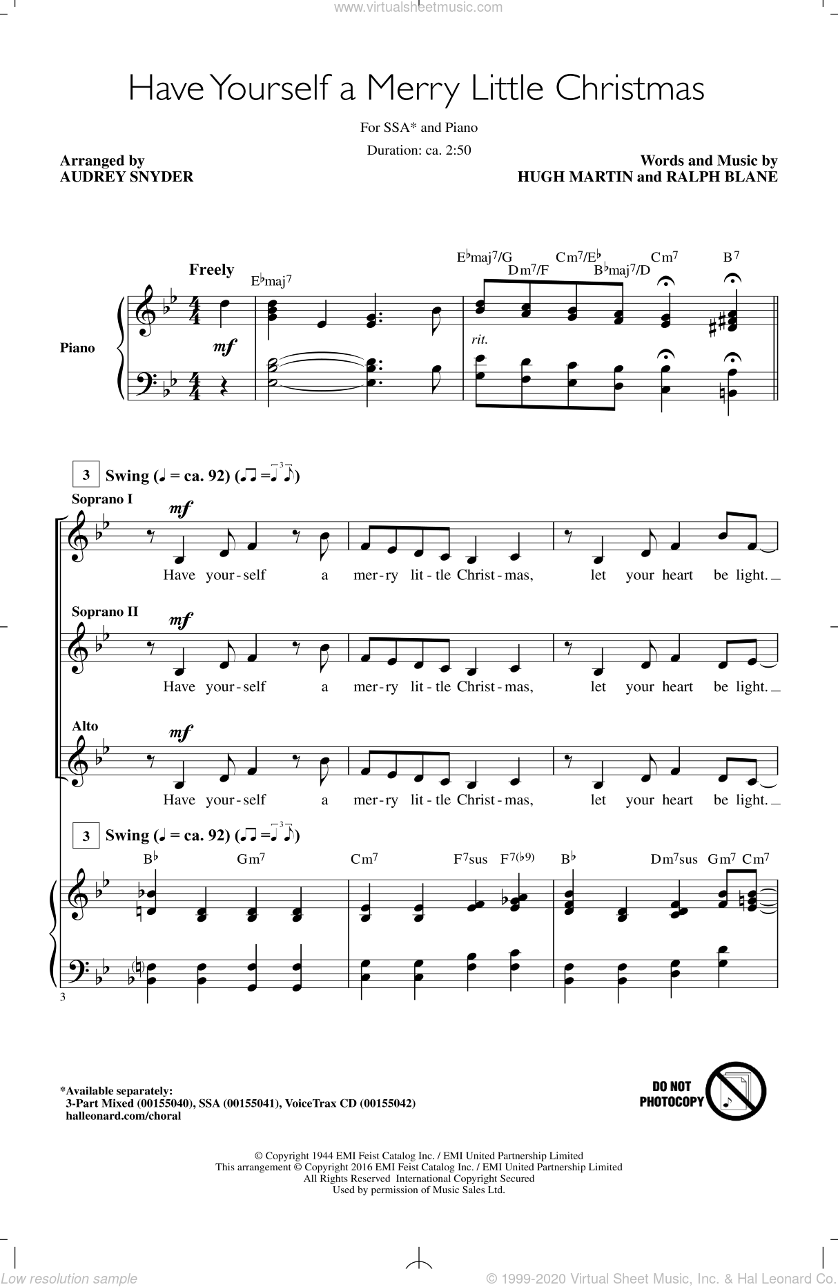 Have Yourself A Merry Little Christmas sheet music for choir and piano (SSA) by Ralph Blane