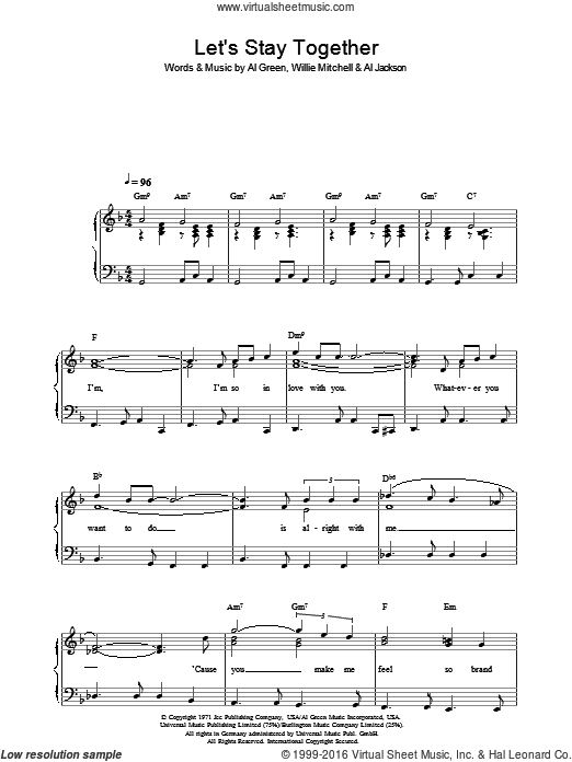 Let's Stay Together sheet music for voice, piano or guitar by Al Jackson, Al Green and Willie Mitchell. Score Image Preview.