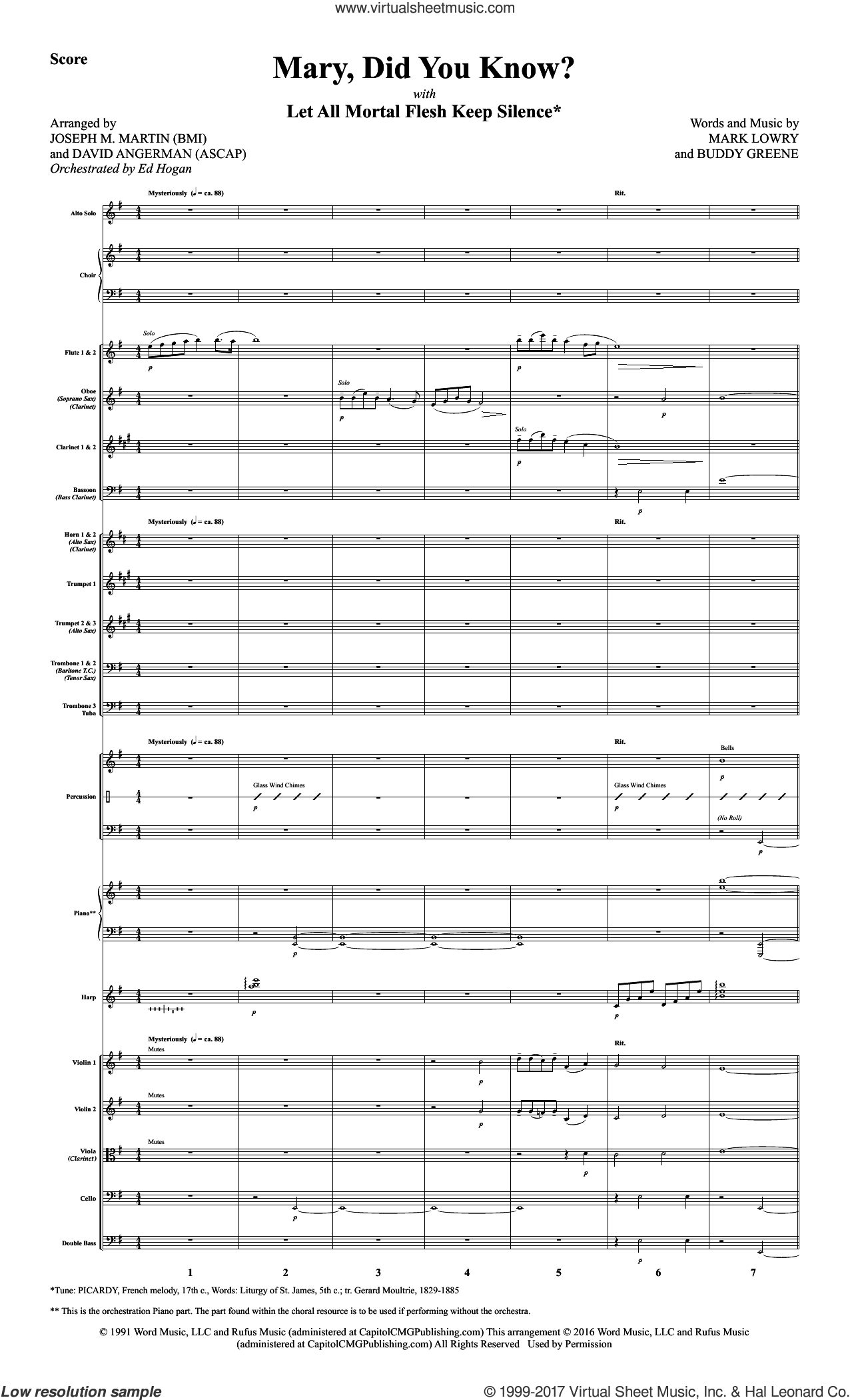 Mary, Did You Know? (COMPLETE) sheet music for orchestra/band by David Angerman, Buddy Greene, Kathy Mattea and Mark Lowry, intermediate skill level