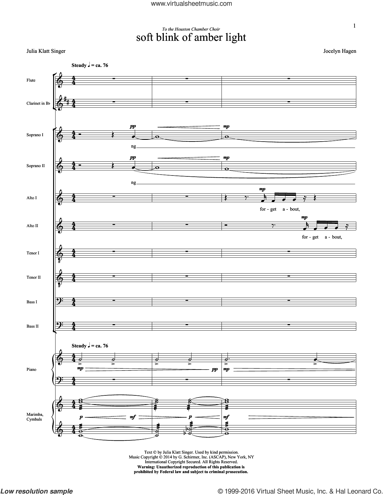 soft blink of amber light (COMPLETE) sheet music for orchestra by Jocelyn Hagen, intermediate orchestra. Score Image Preview.