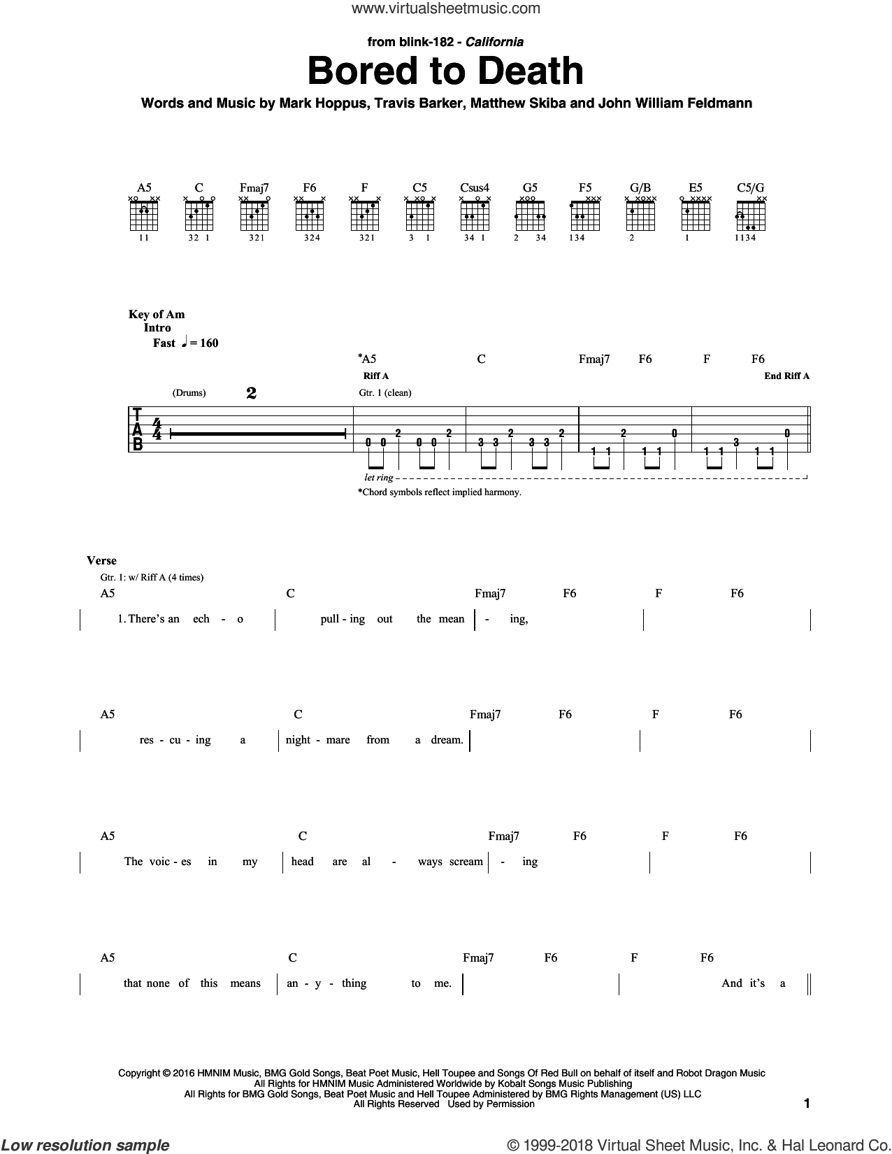 Bored To Death sheet music for guitar (rhythm tablature) by Blink 182. Score Image Preview.