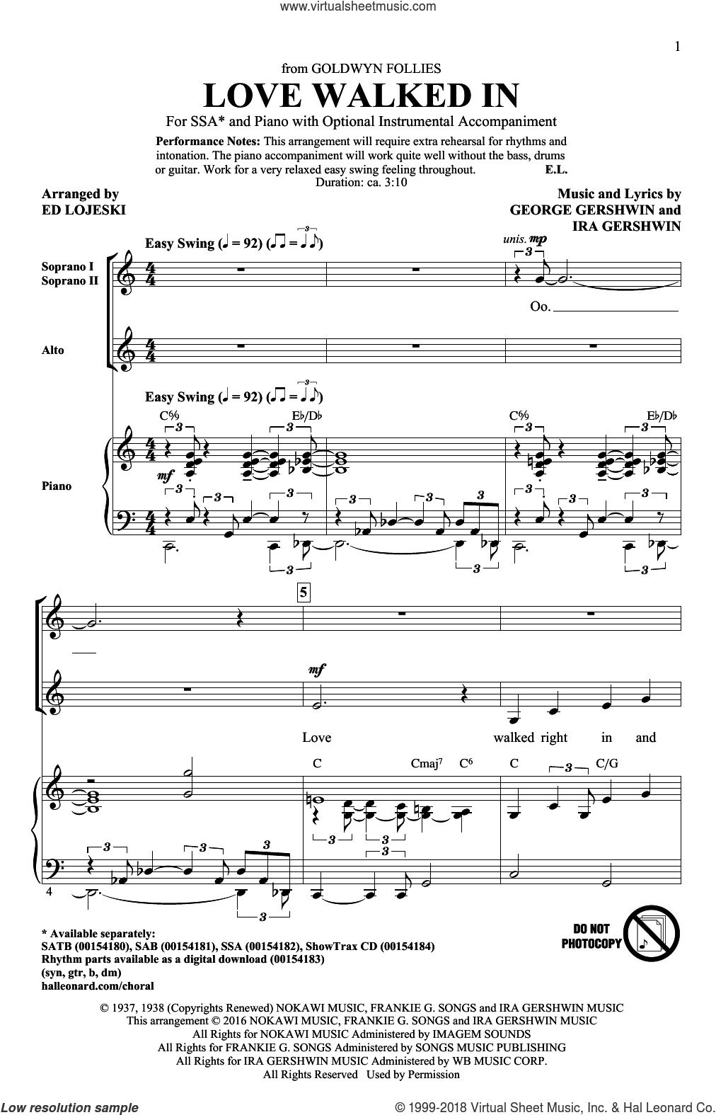 Love Walked In sheet music for choir (SSA: soprano, alto) by George Gershwin, Ed Lojeski and Ira Gershwin, intermediate. Score Image Preview.