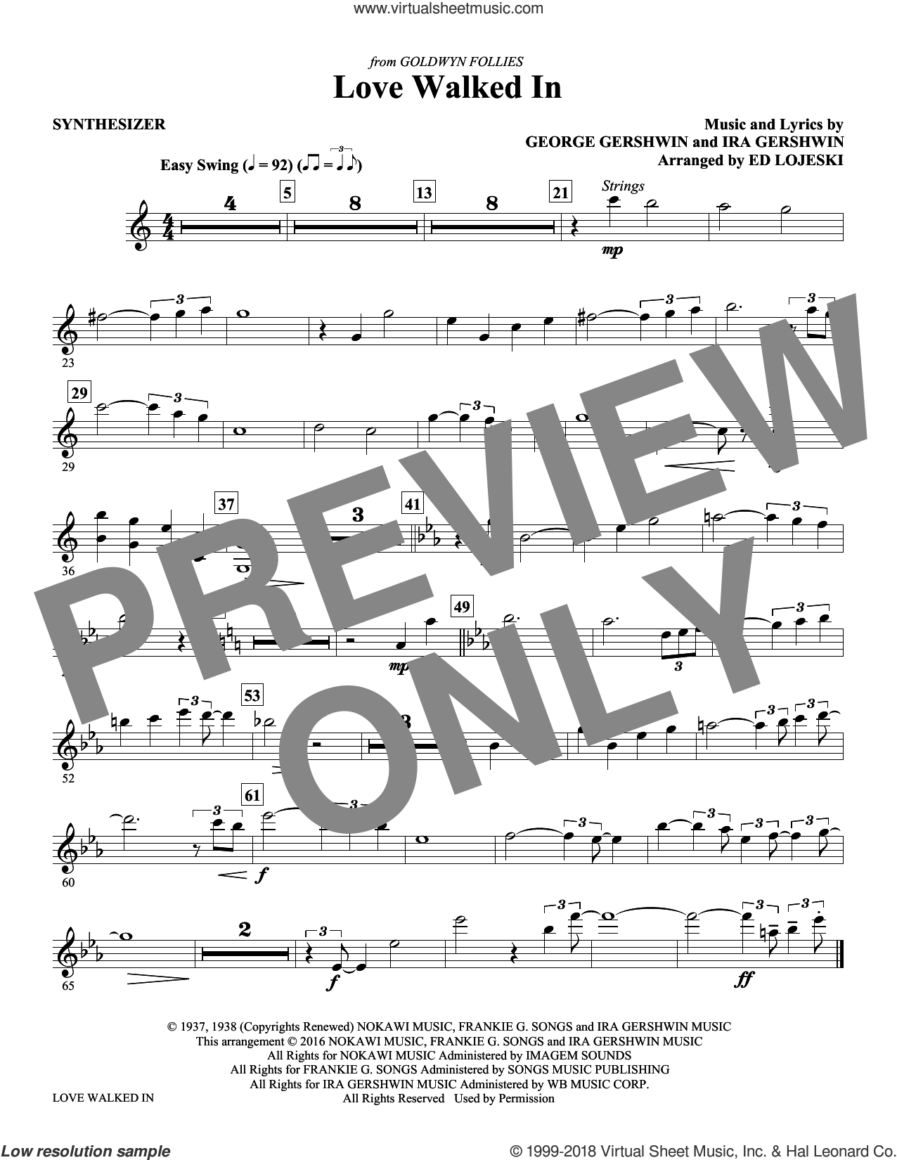 Love Walked In (complete set of parts) sheet music for orchestra/band by Ed Lojeski, George Gershwin and Ira Gershwin, intermediate. Score Image Preview.