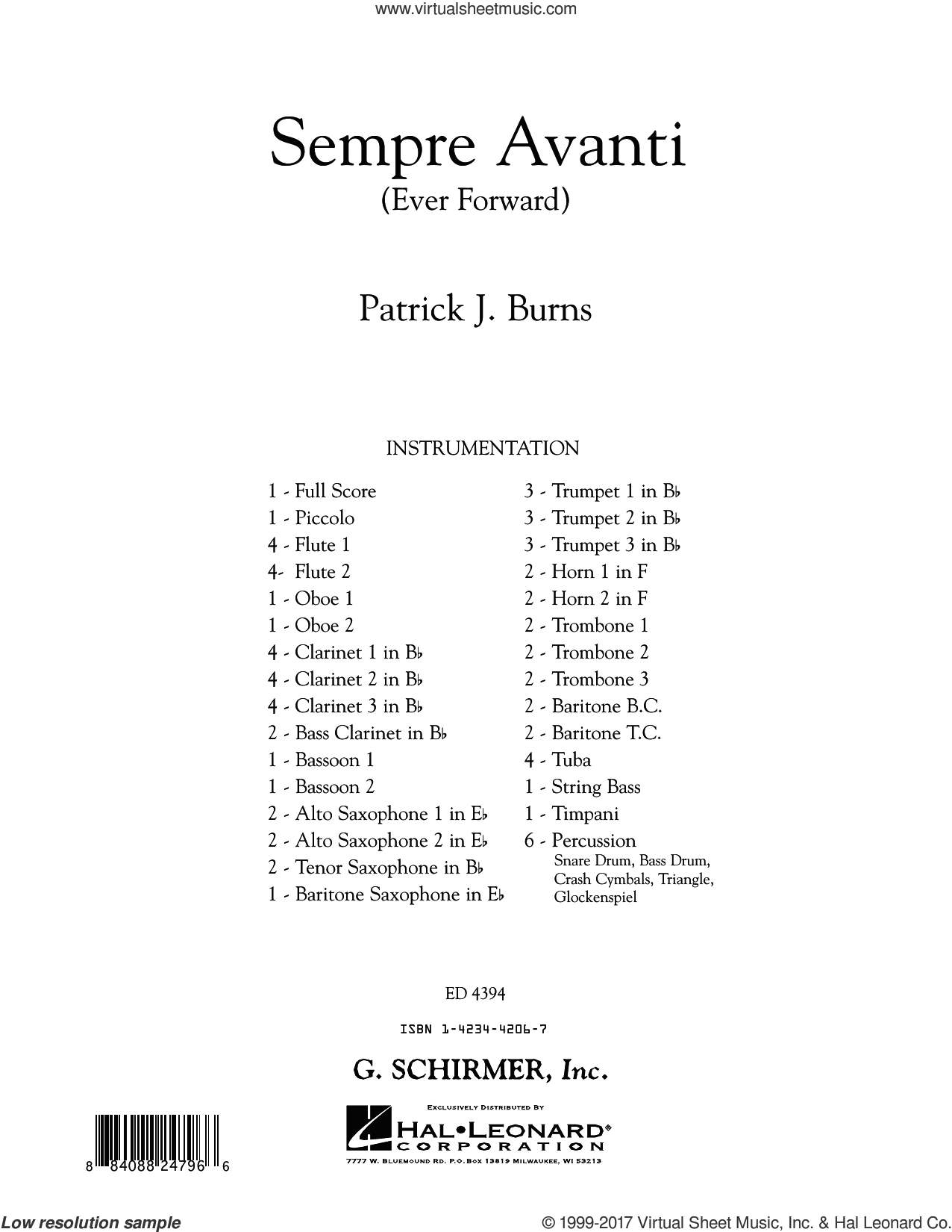 Sempre Avanti (COMPLETE) sheet music for concert band by Patrick J. Burns, intermediate