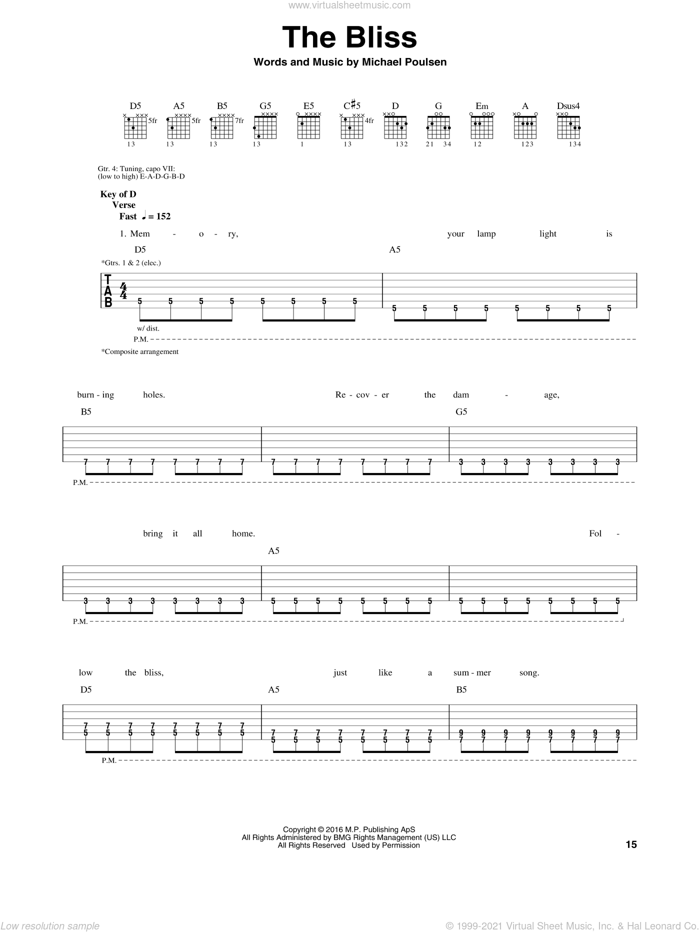 The Bliss sheet music for guitar (rhythm tablature) by Volbeat and Michael Poulsen, intermediate skill level