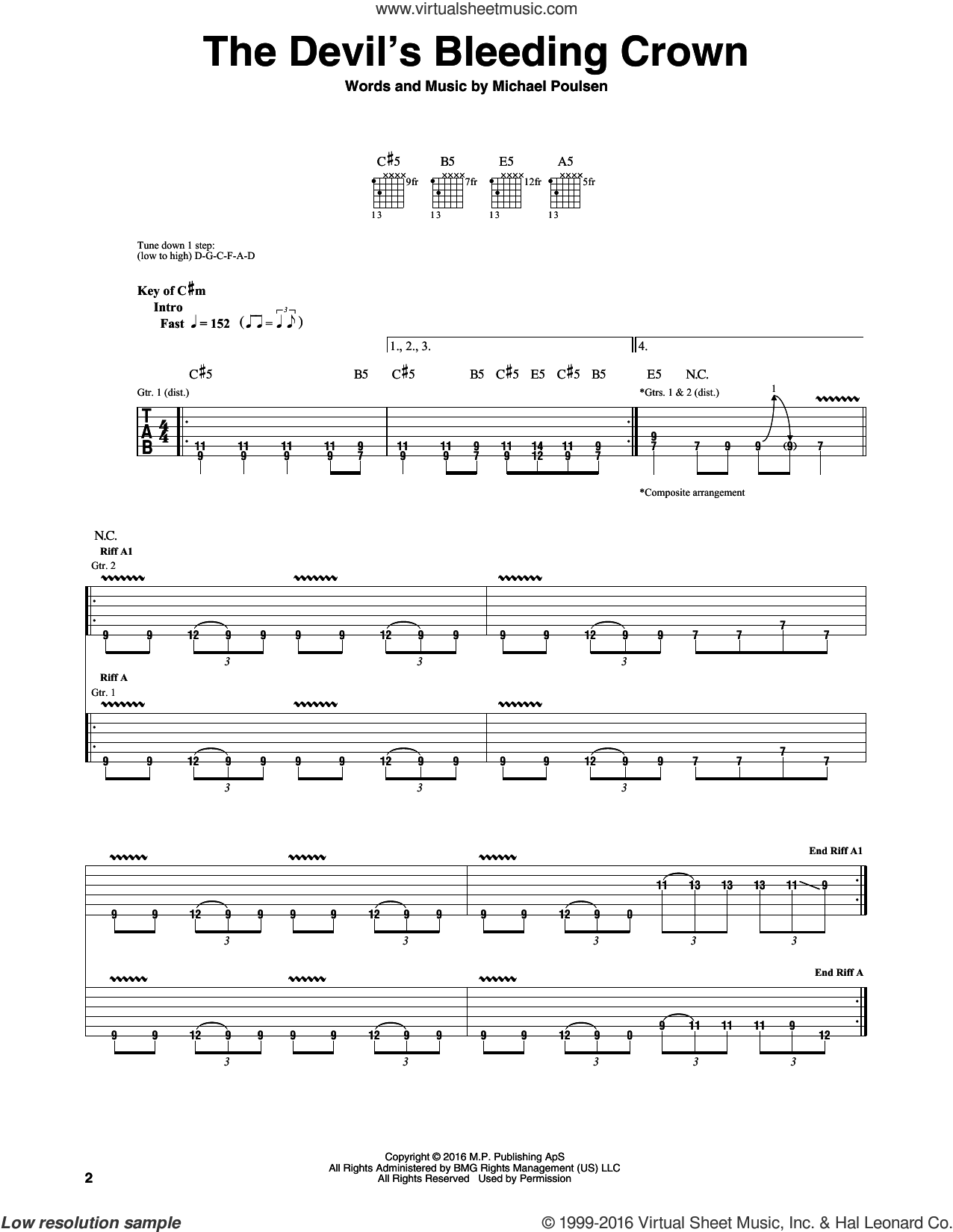 The Devil's Bleeding Crown sheet music for guitar (rhythm tablature) by Volbeat, intermediate guitar (rhythm tablature). Score Image Preview.