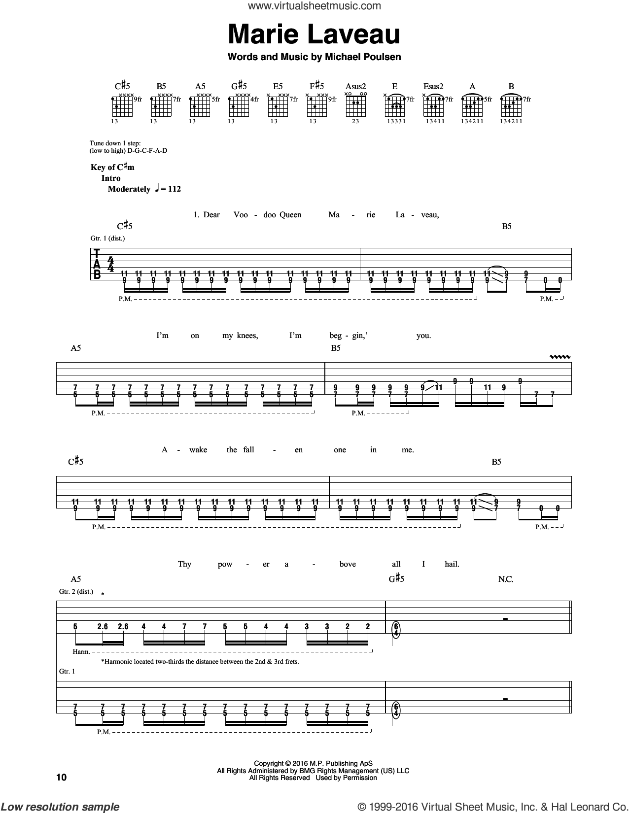 Marie Laveau sheet music for guitar (rhythm tablature) by Volbeat and Michael Poulsen, intermediate skill level