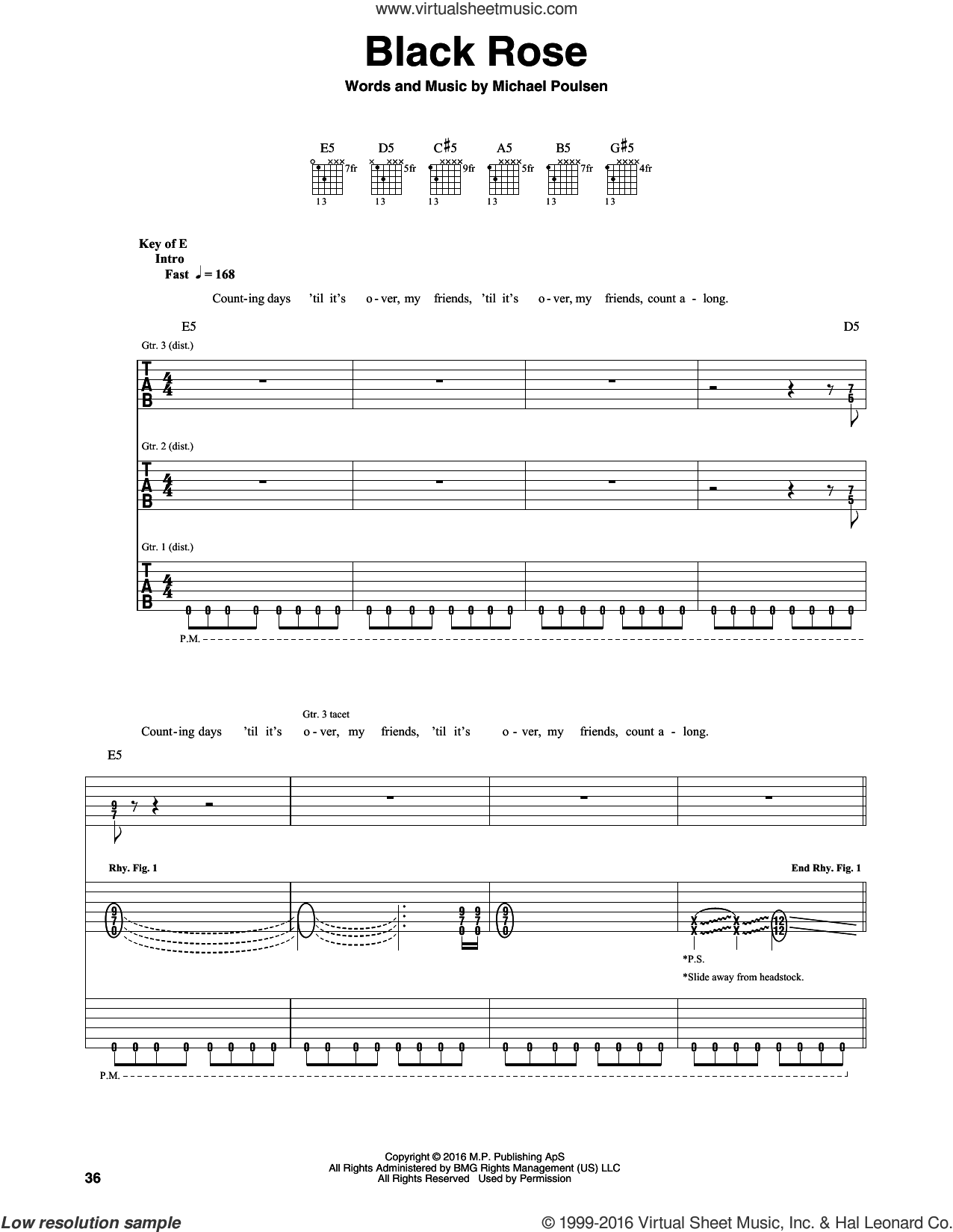 Black Rose sheet music for guitar (rhythm tablature) by Volbeat and Michael Poulsen, intermediate skill level