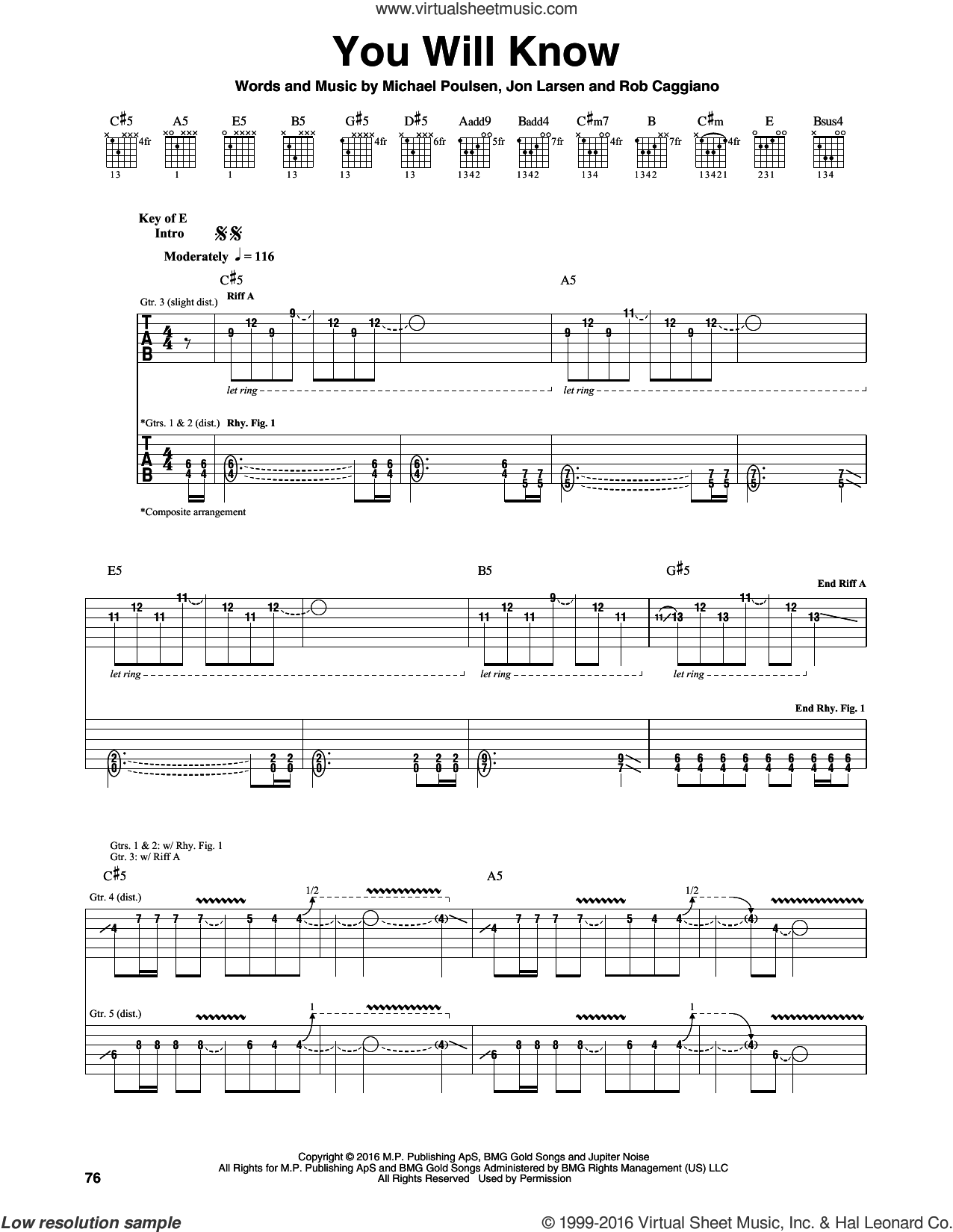 You Will Know sheet music for guitar (rhythm tablature) by Rob Caggiano, Volbeat and Michael Poulsen. Score Image Preview.
