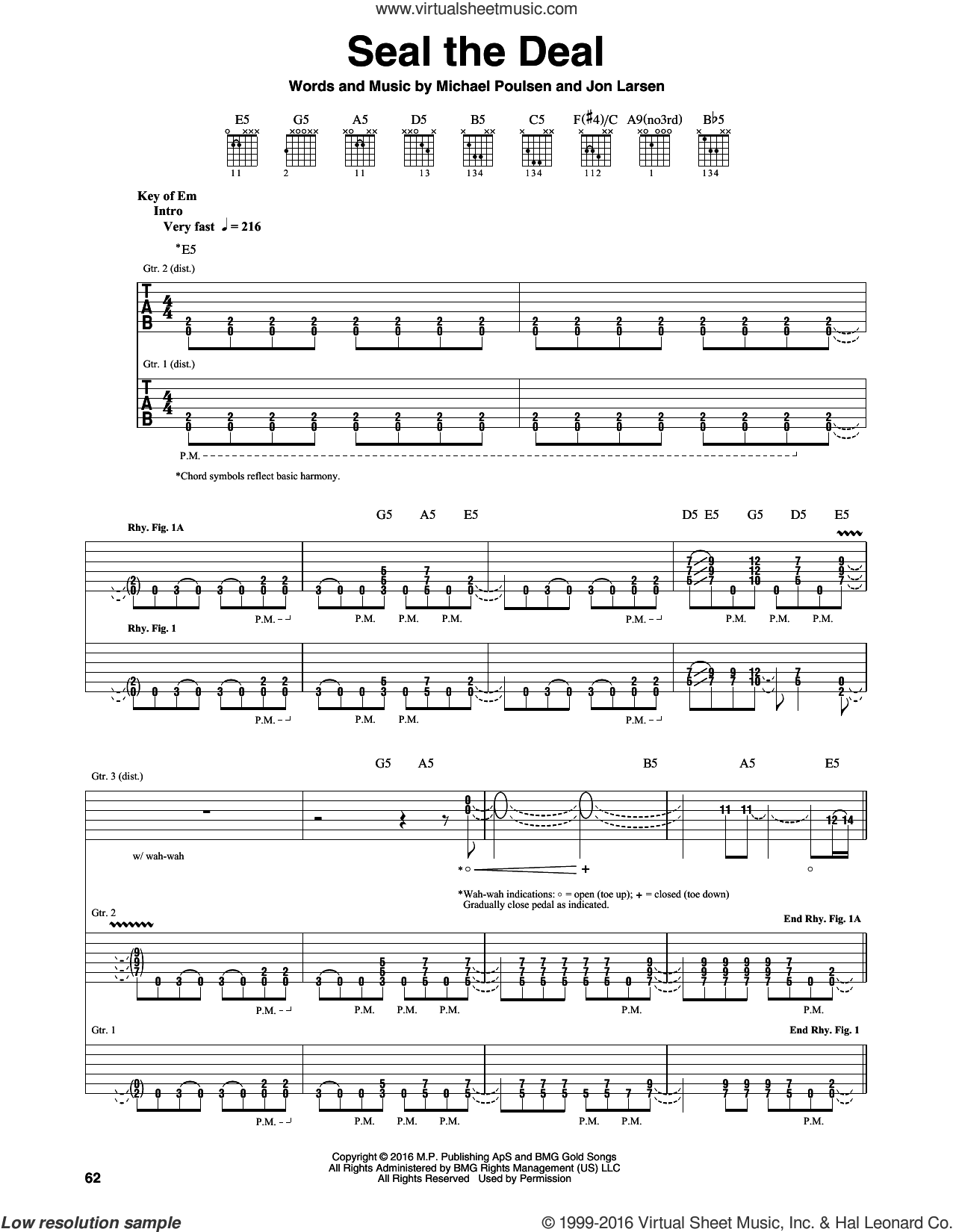 Seal The Deal sheet music for guitar (rhythm tablature) by Volbeat, Jon Larsen and Michael Poulsen, intermediate skill level