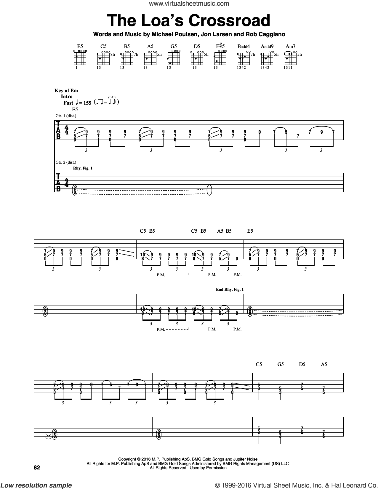 The Loa's Crossroad sheet music for guitar (rhythm tablature) by Rob Caggiano, Volbeat and Michael Poulsen. Score Image Preview.