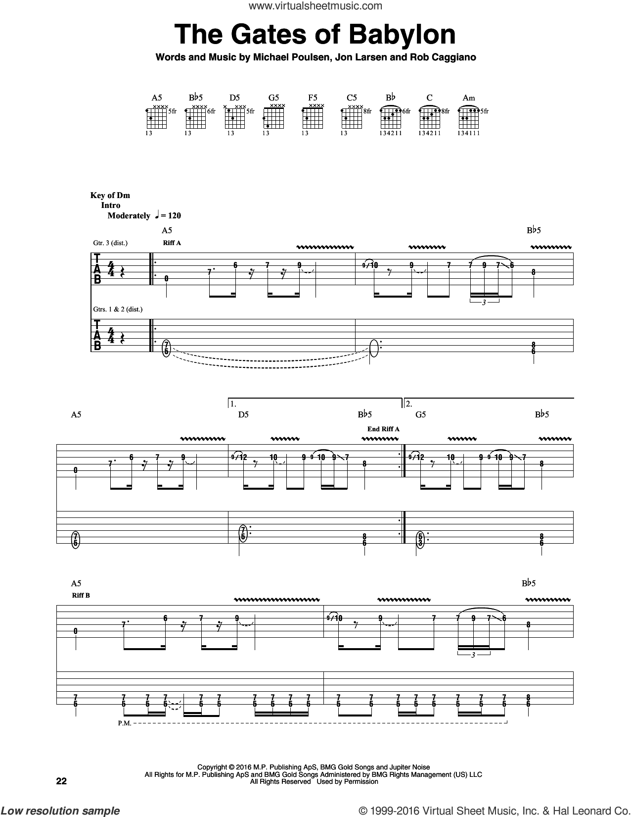The Gates Of Babylon sheet music for guitar (rhythm tablature) by Volbeat, Jon Larsen, Michael Poulsen and Rob Caggiano, intermediate. Score Image Preview.
