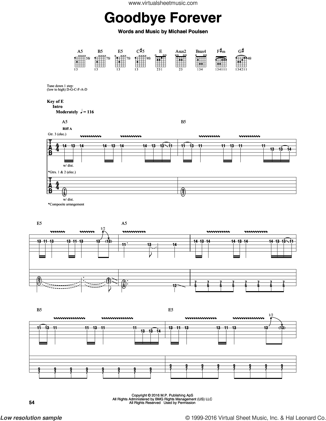Goodbye Forever sheet music for guitar (rhythm tablature) by Michael Poulsen and Volbeat. Score Image Preview.