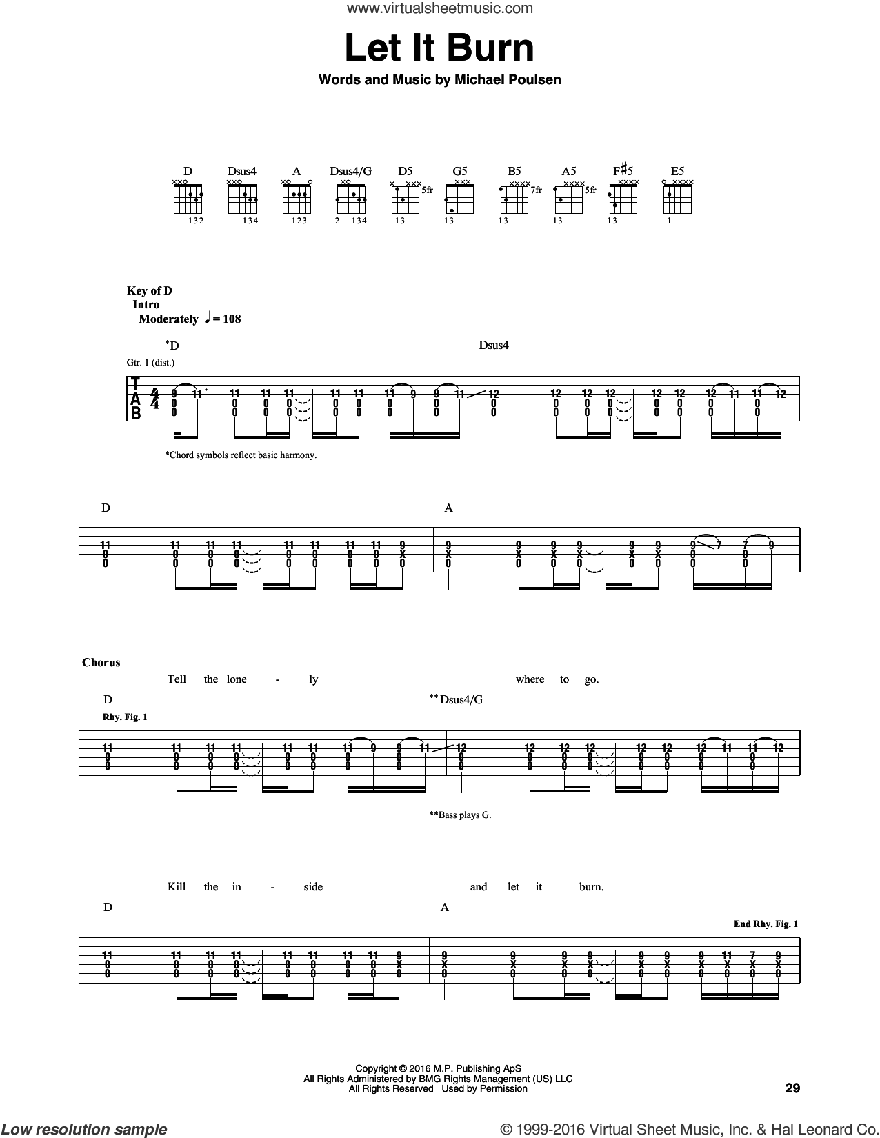 Let It Burn sheet music for guitar (rhythm tablature) by Michael Poulsen and Volbeat. Score Image Preview.
