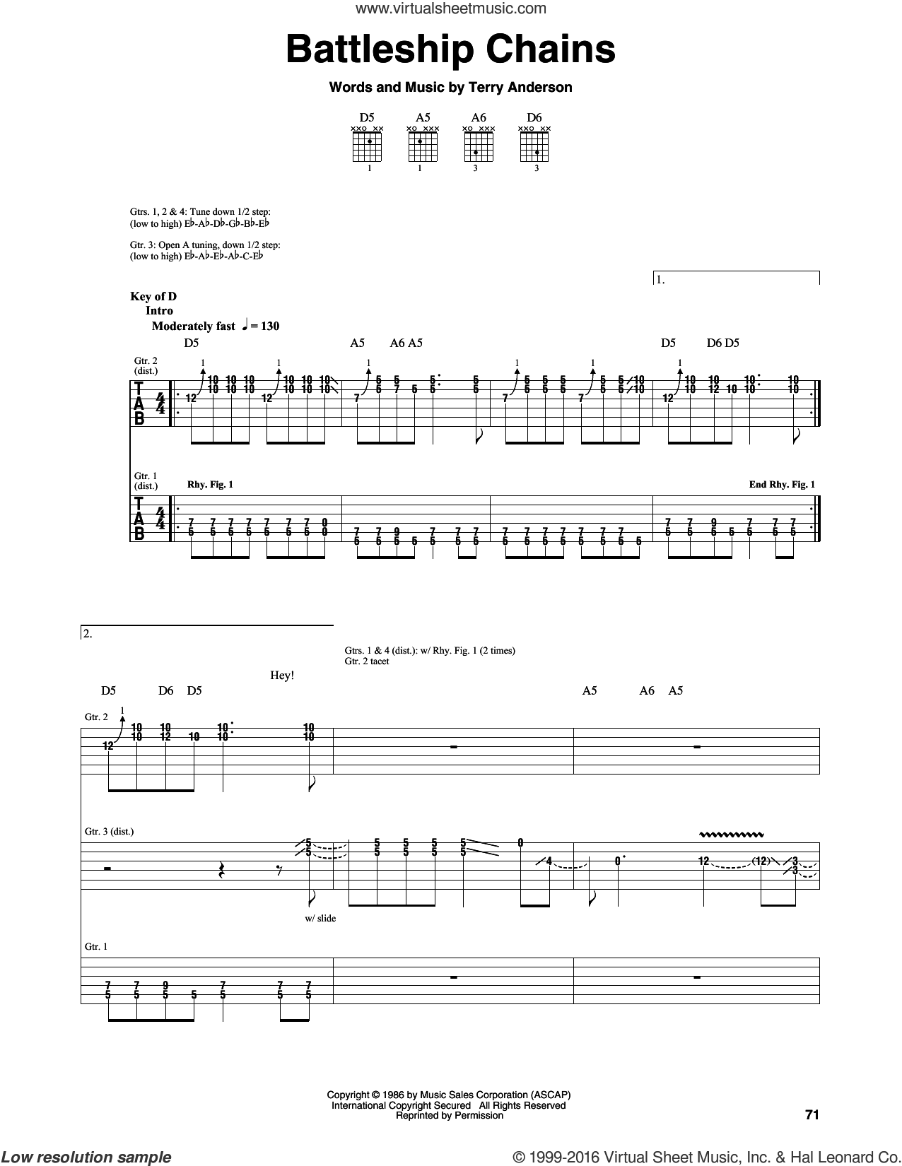 Battleship Chains sheet music for guitar (rhythm tablature) by Volbeat, Georgia Satellites and Terry Anderson, intermediate