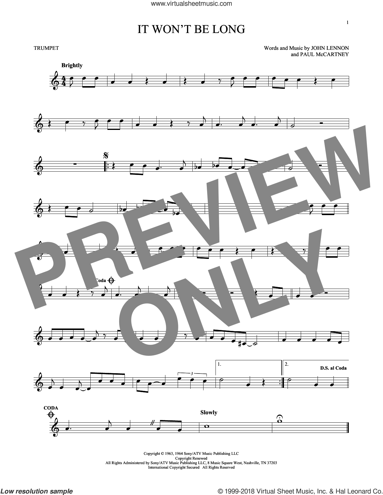 It Won't Be Long sheet music for trumpet solo by The Beatles, John Lennon and Paul McCartney, intermediate skill level