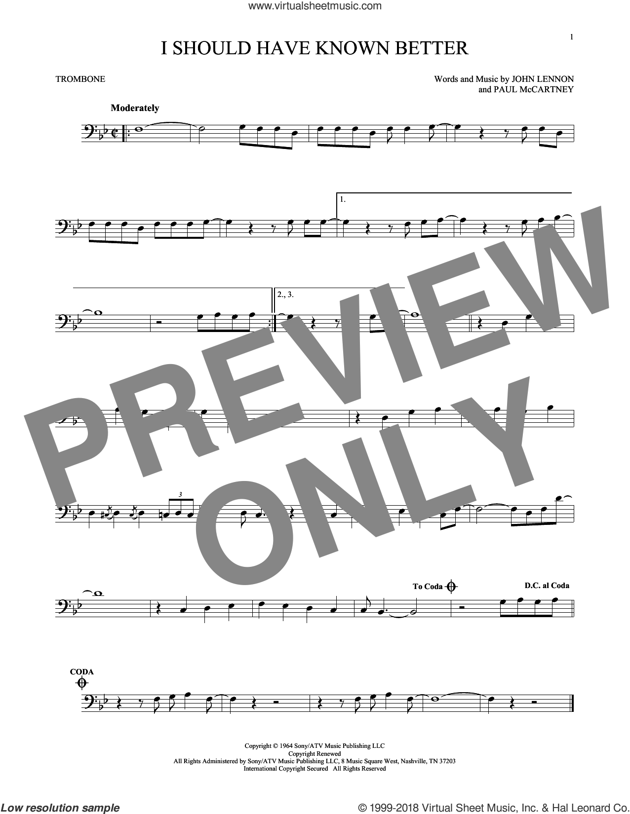 I Should Have Known Better sheet music for trombone solo by The Beatles, John Lennon and Paul McCartney, intermediate trombone. Score Image Preview.