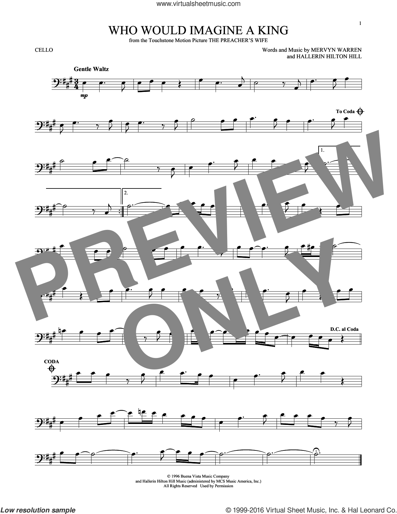 Who Would Imagine A King sheet music for cello solo by Whitney Houston and Mervyn Warren. Score Image Preview.