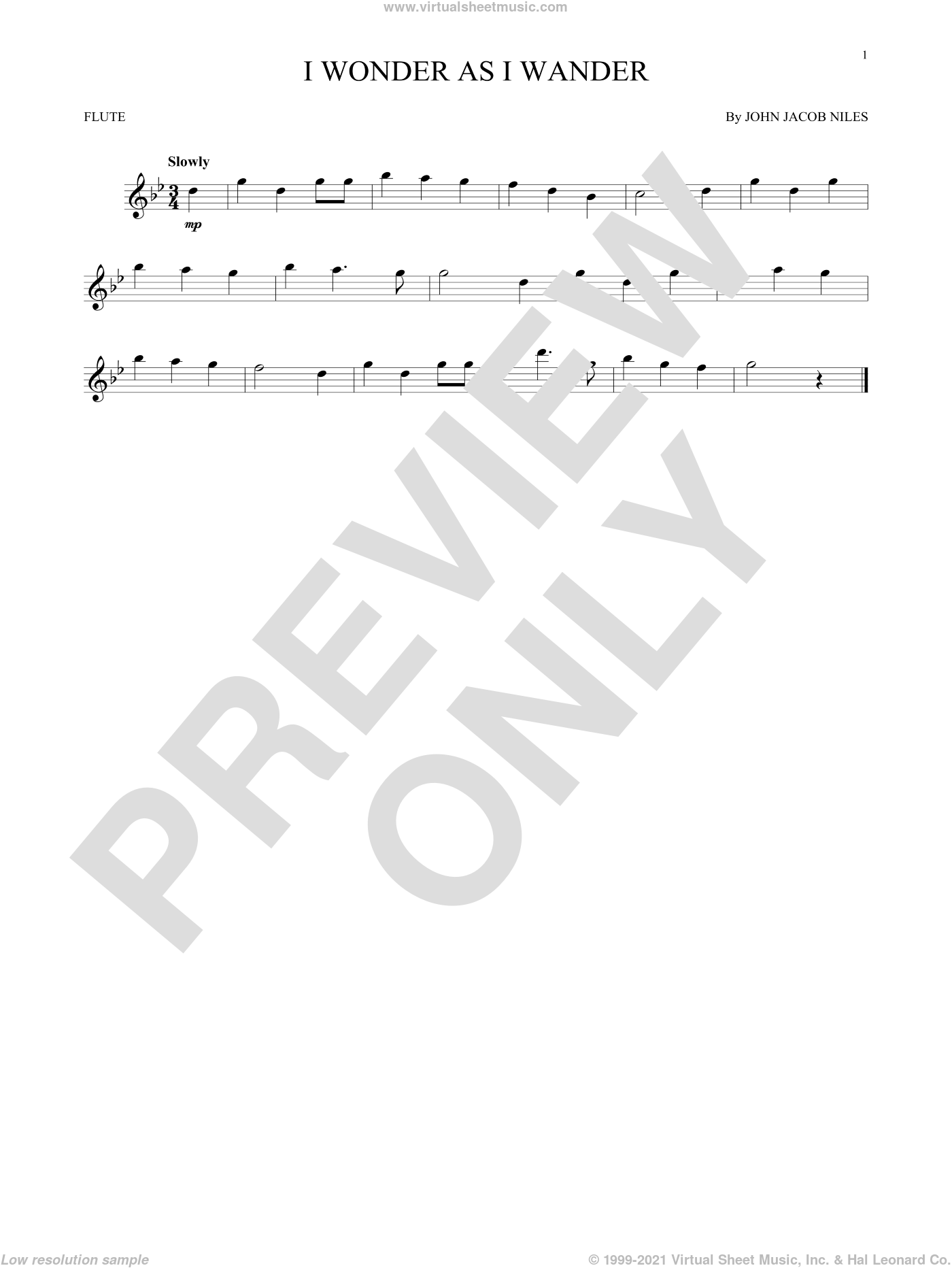 I Wonder As I Wander sheet music for flute solo by John Jacob Niles. Score Image Preview.