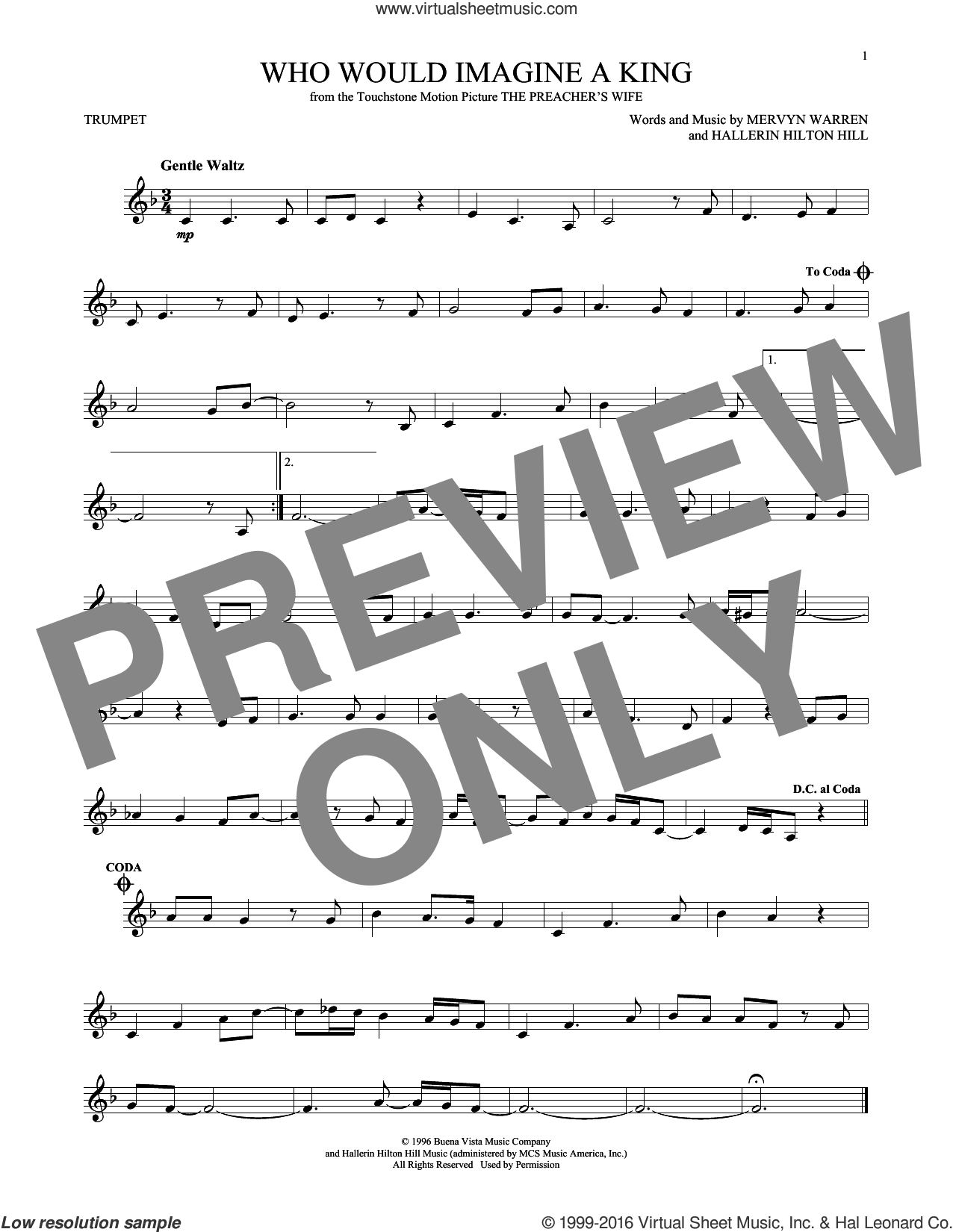 Who Would Imagine A King sheet music for trumpet solo by Whitney Houston, Hallerin Hilton Hill and Mervyn Warren, intermediate skill level