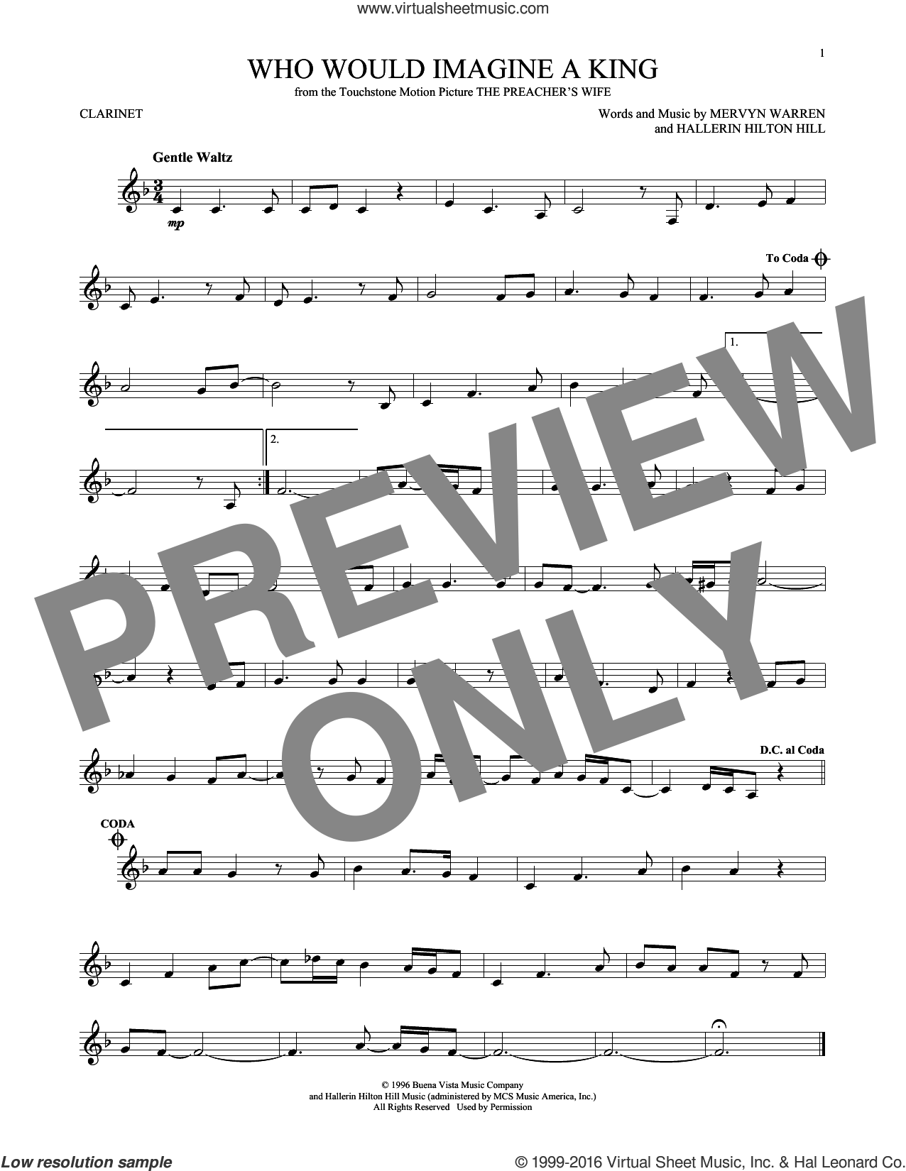 Who Would Imagine A King sheet music for clarinet solo by Whitney Houston, Hallerin Hilton Hill and Mervyn Warren, intermediate skill level