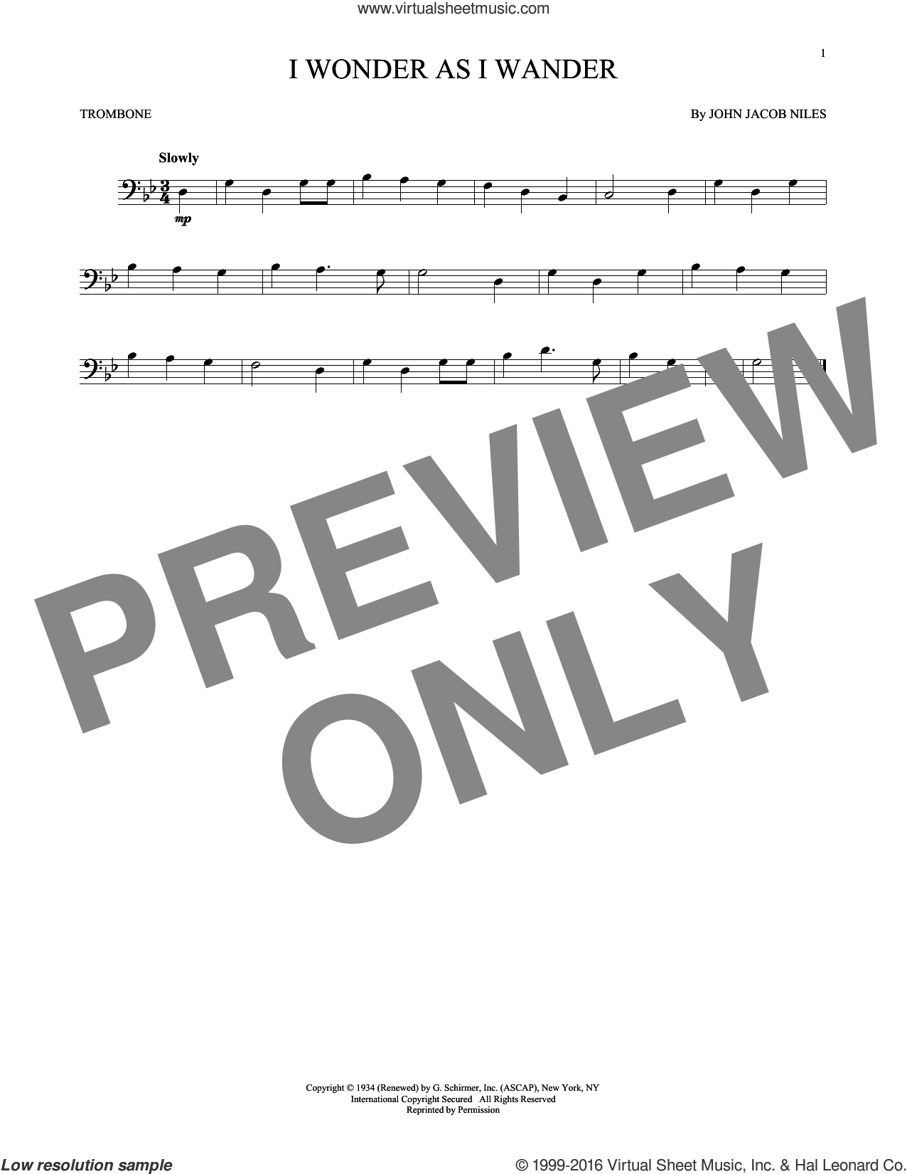 I Wonder As I Wander sheet music for trombone solo by John Jacob Niles. Score Image Preview.