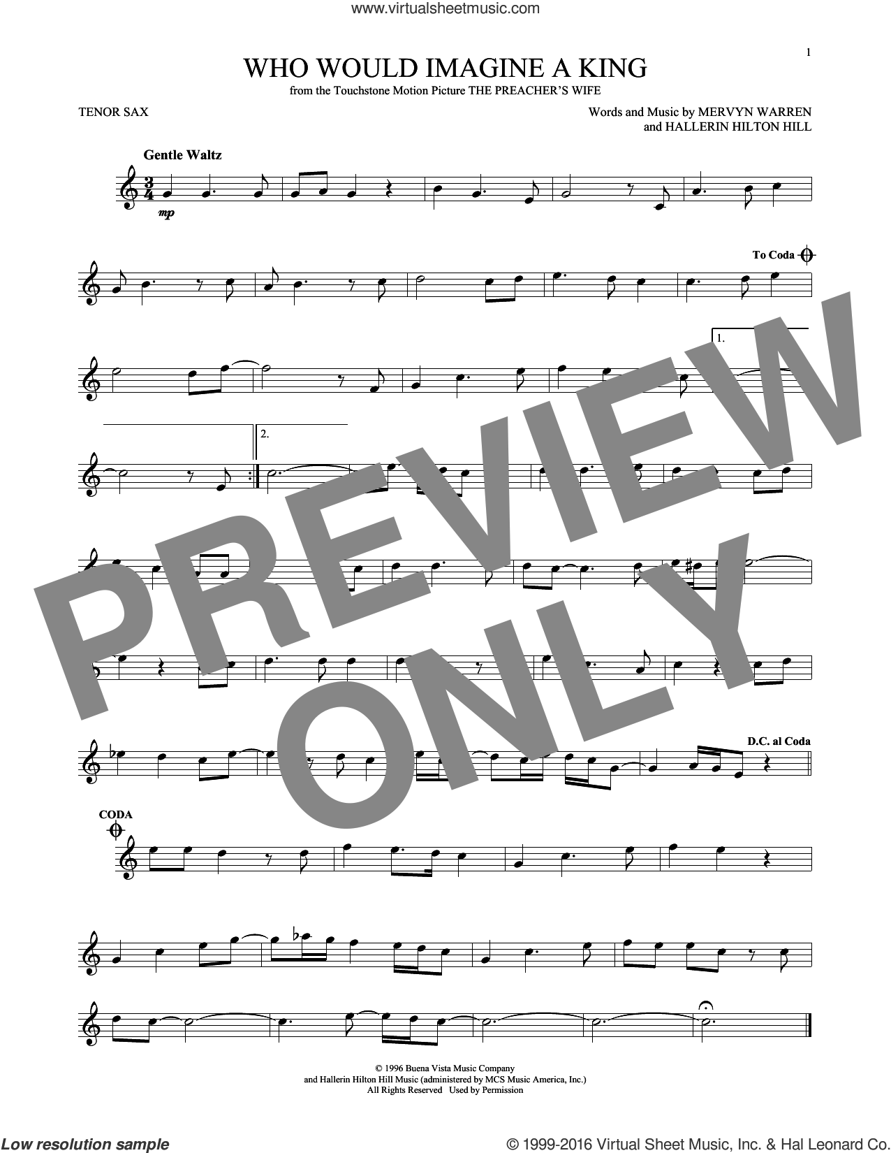 Who Would Imagine A King sheet music for tenor saxophone solo by Whitney Houston and Mervyn Warren. Score Image Preview.
