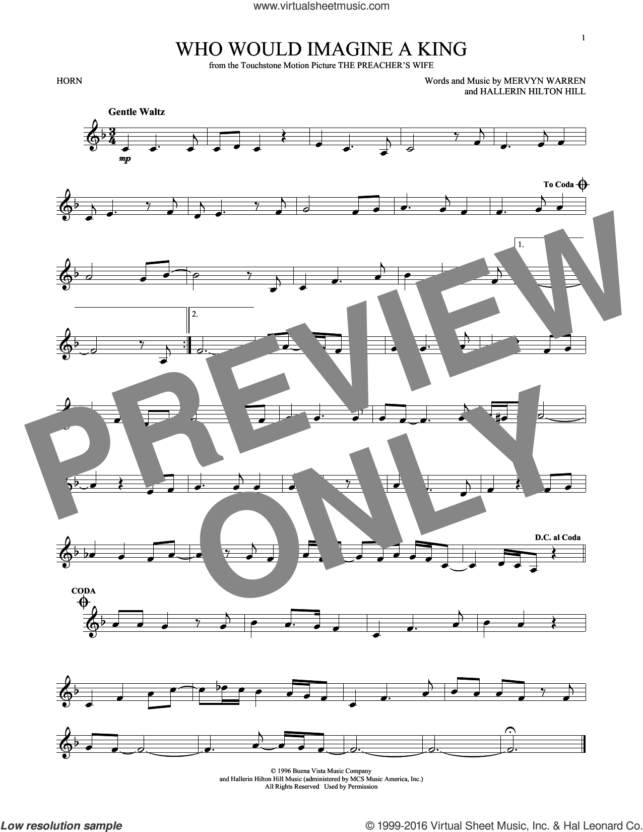 Who Would Imagine A King sheet music for horn solo by Whitney Houston, Hallerin Hilton Hill and Mervyn Warren, intermediate skill level
