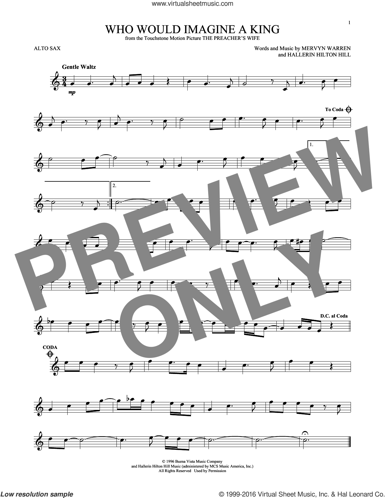 Who Would Imagine A King sheet music for alto saxophone solo by Mervyn Warren and Whitney Houston. Score Image Preview.