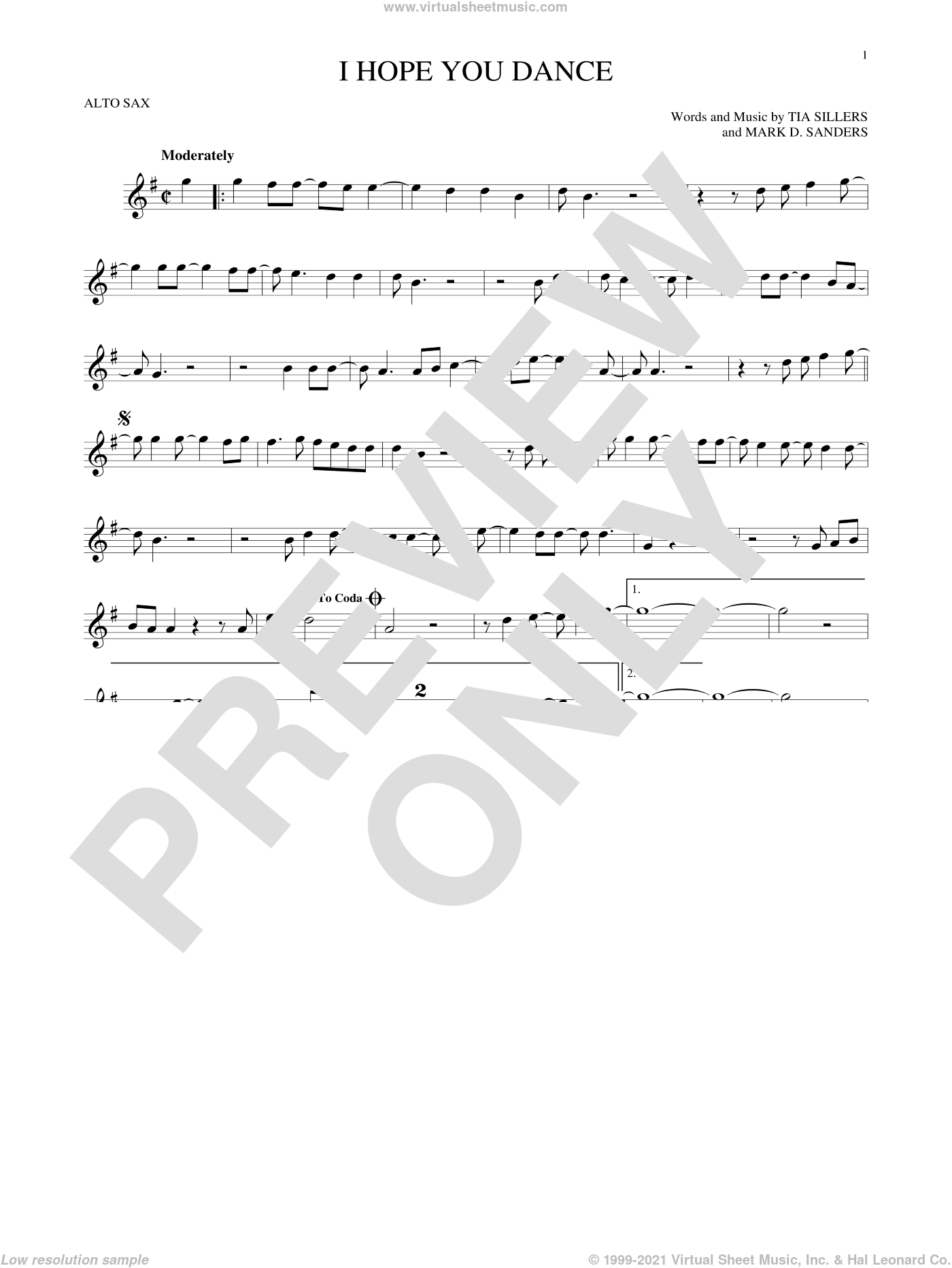I Hope You Dance sheet music for alto saxophone solo by Lee Ann Womack with Sons of the Desert, Mark D. Sanders and Tia Sillers, intermediate skill level