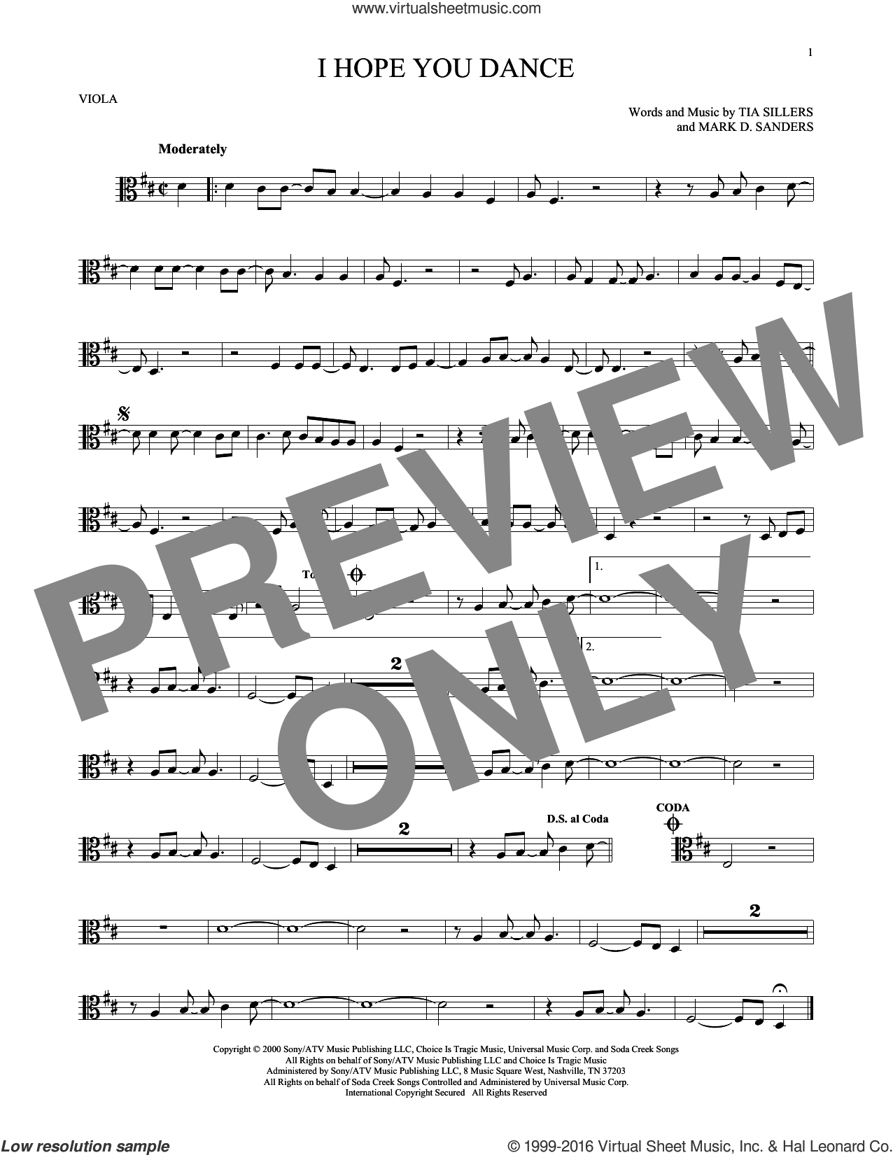 I Hope You Dance sheet music for viola solo by Lee Ann Womack with Sons of the Desert, Mark D. Sanders and Tia Sillers, intermediate skill level