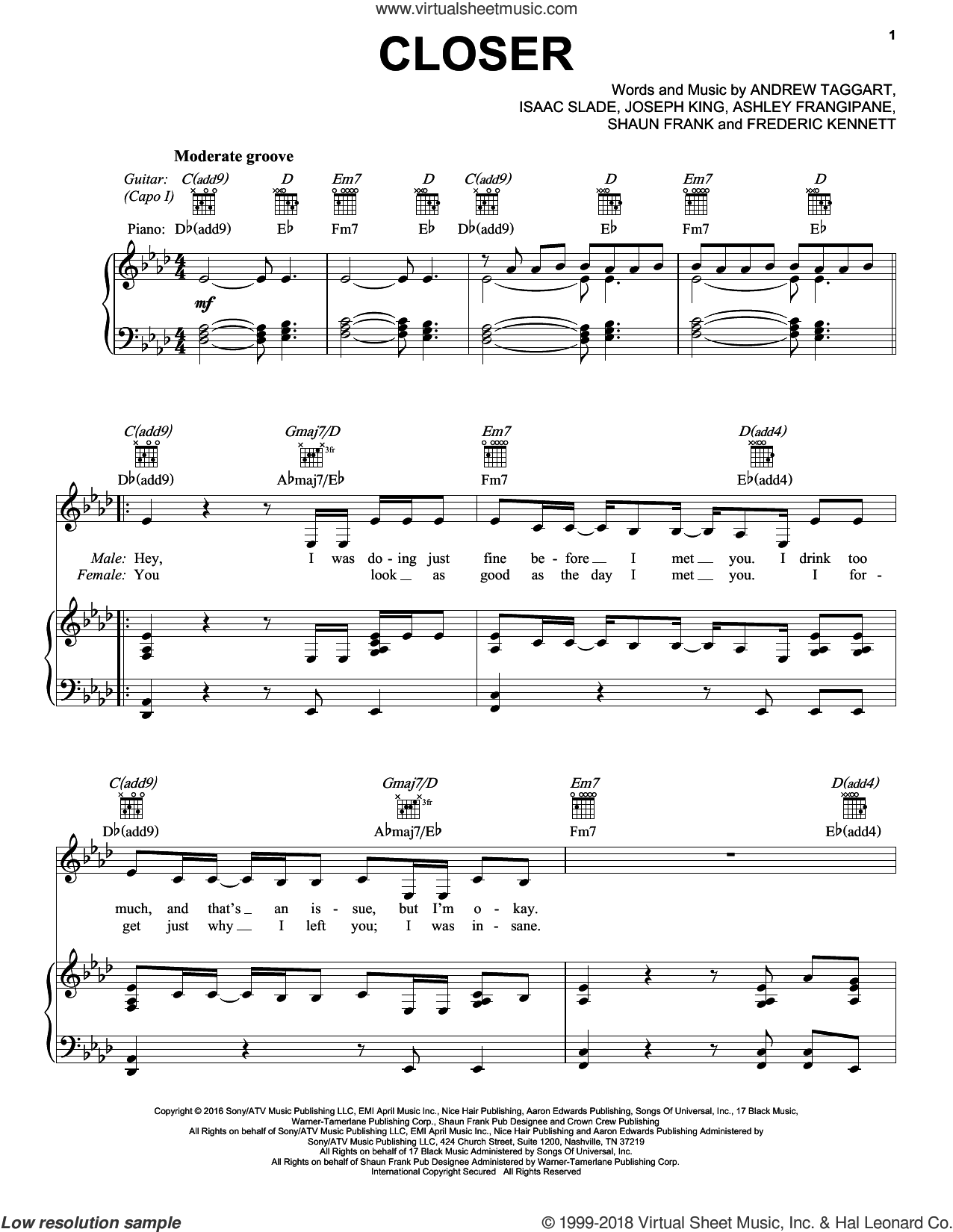 Closer sheet music for voice, piano or guitar by Shaun Frank