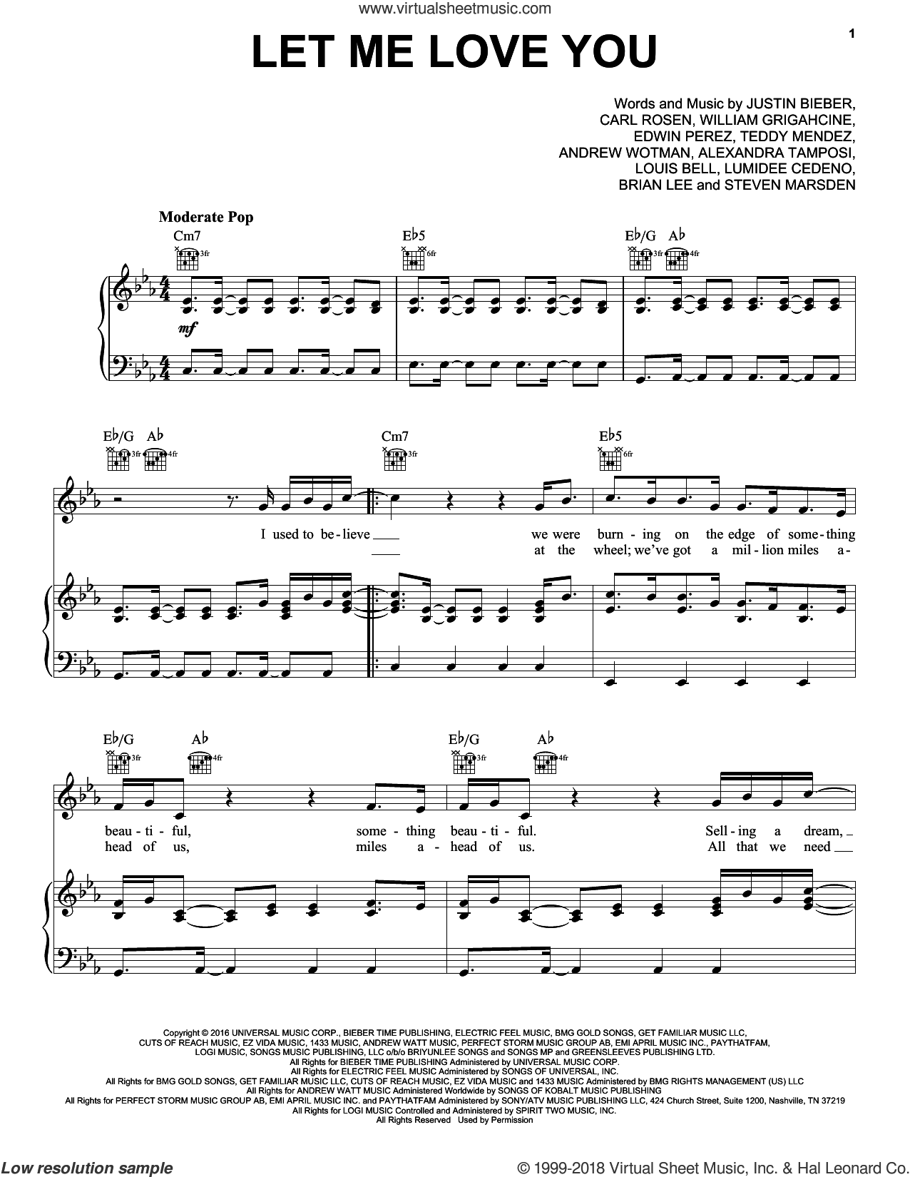 Let Me Love You sheet music for voice, piano or guitar by DJ Snake featuring Justin Bieber, Ali Tamposi, Andrew Wotman, Brian Lee, Carl Rosen, Justin Bieber, Louis Bell and William Grigahcine, intermediate. Score Image Preview.