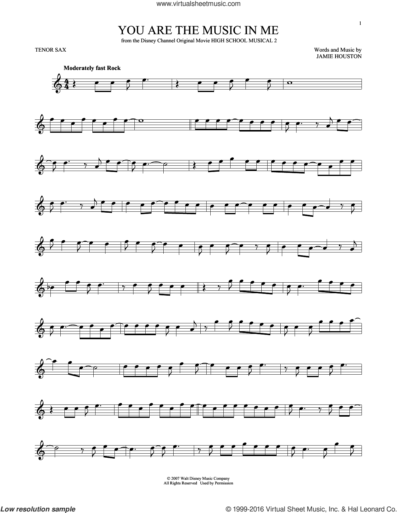You Are The Music In Me sheet music for tenor saxophone solo by Jamie Houston
