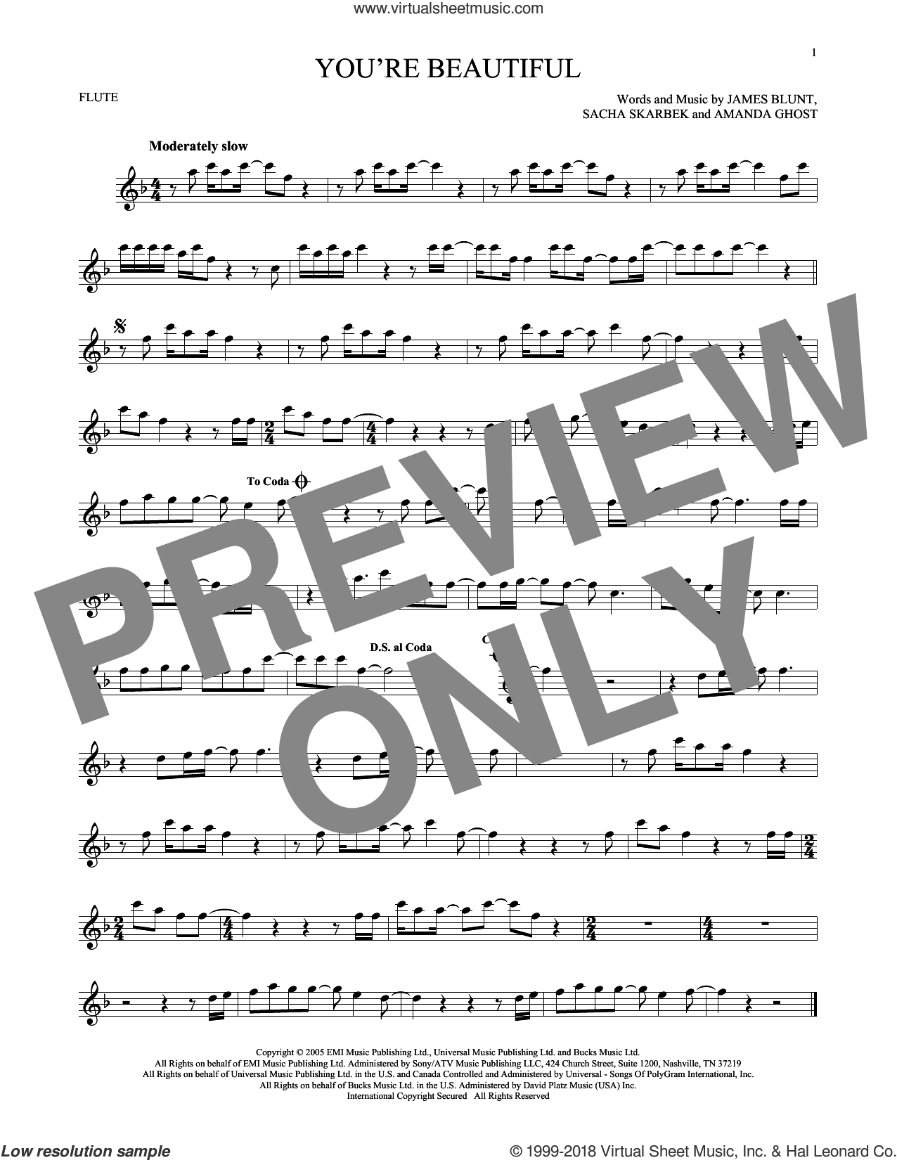 You're Beautiful sheet music for flute solo by James Blunt, Amanda Ghost and Sacha Skarbek, intermediate skill level