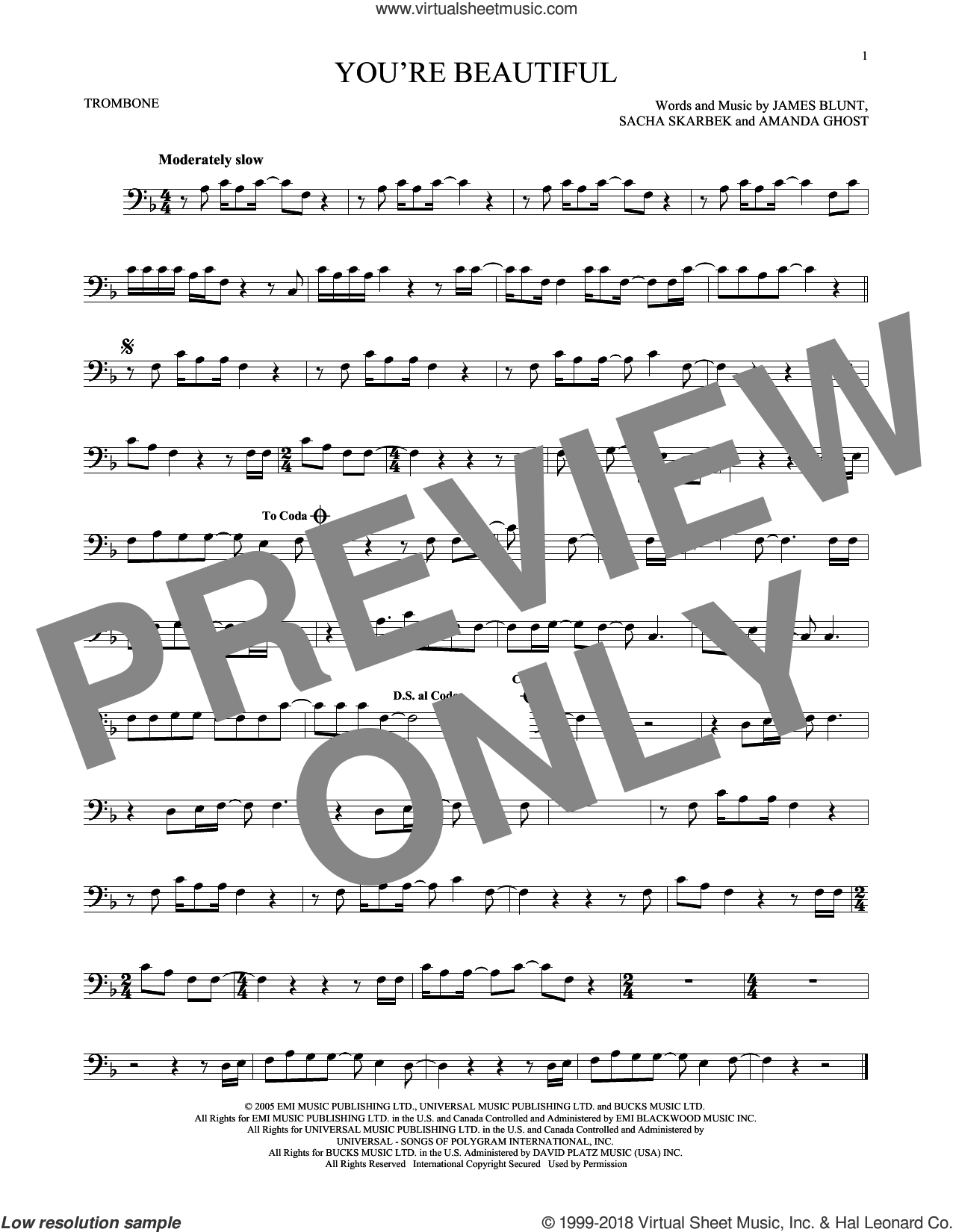 You're Beautiful sheet music for trombone solo by James Blunt, Amanda Ghost and Sacha Skarbek, intermediate skill level