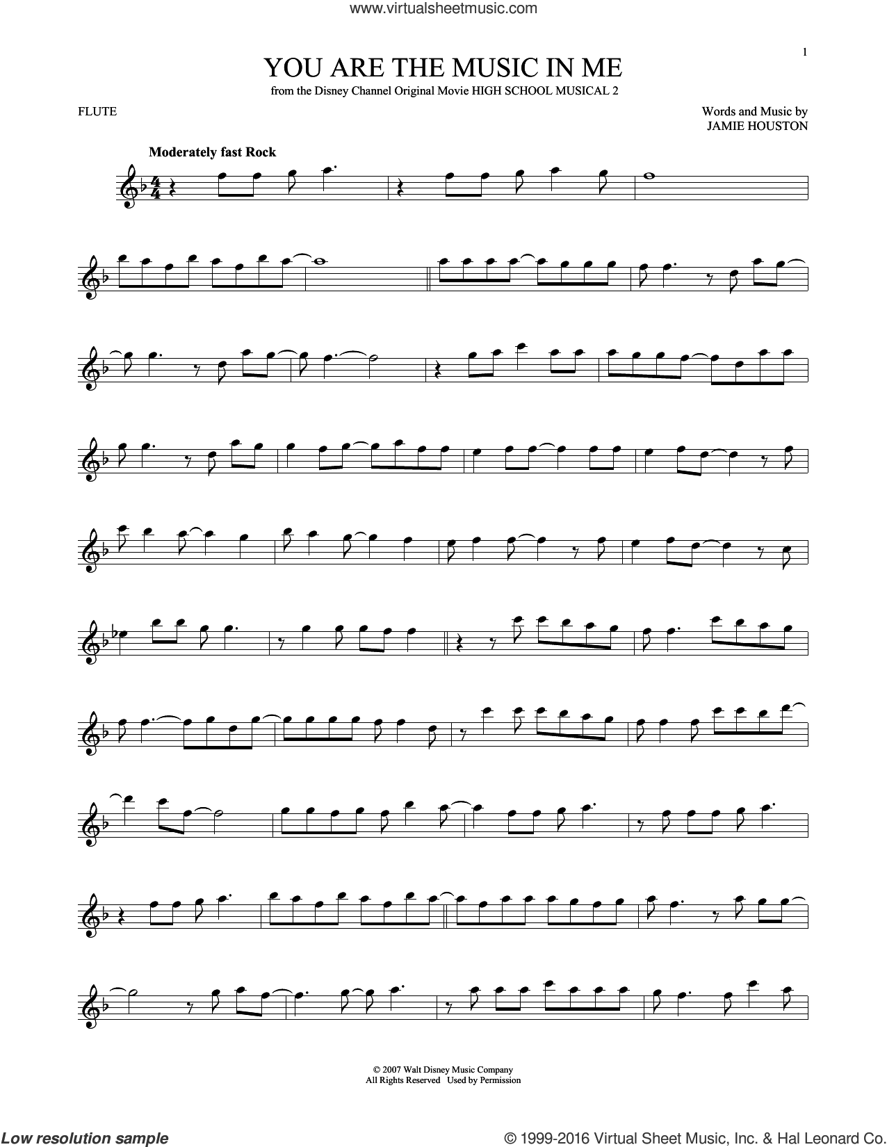 You Are The Music In Me sheet music for flute solo by Jamie Houston and Zac Efron and Vanessa Anne Hudgens. Score Image Preview.