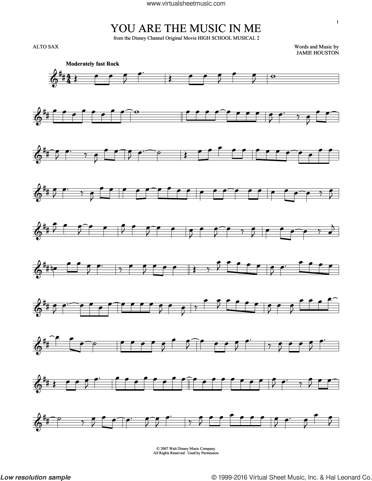 You Are The Music In Me sheet music for alto saxophone solo by Zac Efron and Vanessa Anne Hudgens and Jamie Houston, intermediate skill level