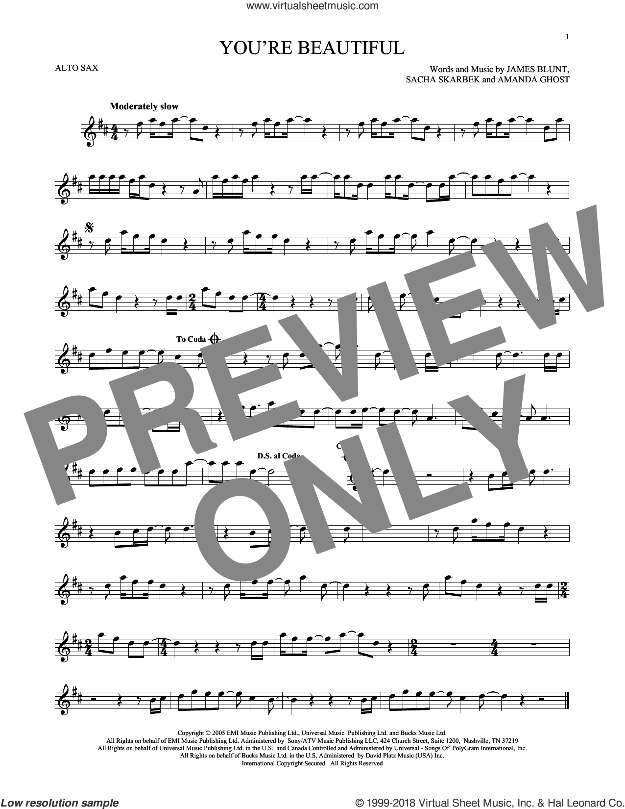 You're Beautiful sheet music for alto saxophone solo by James Blunt. Score Image Preview.