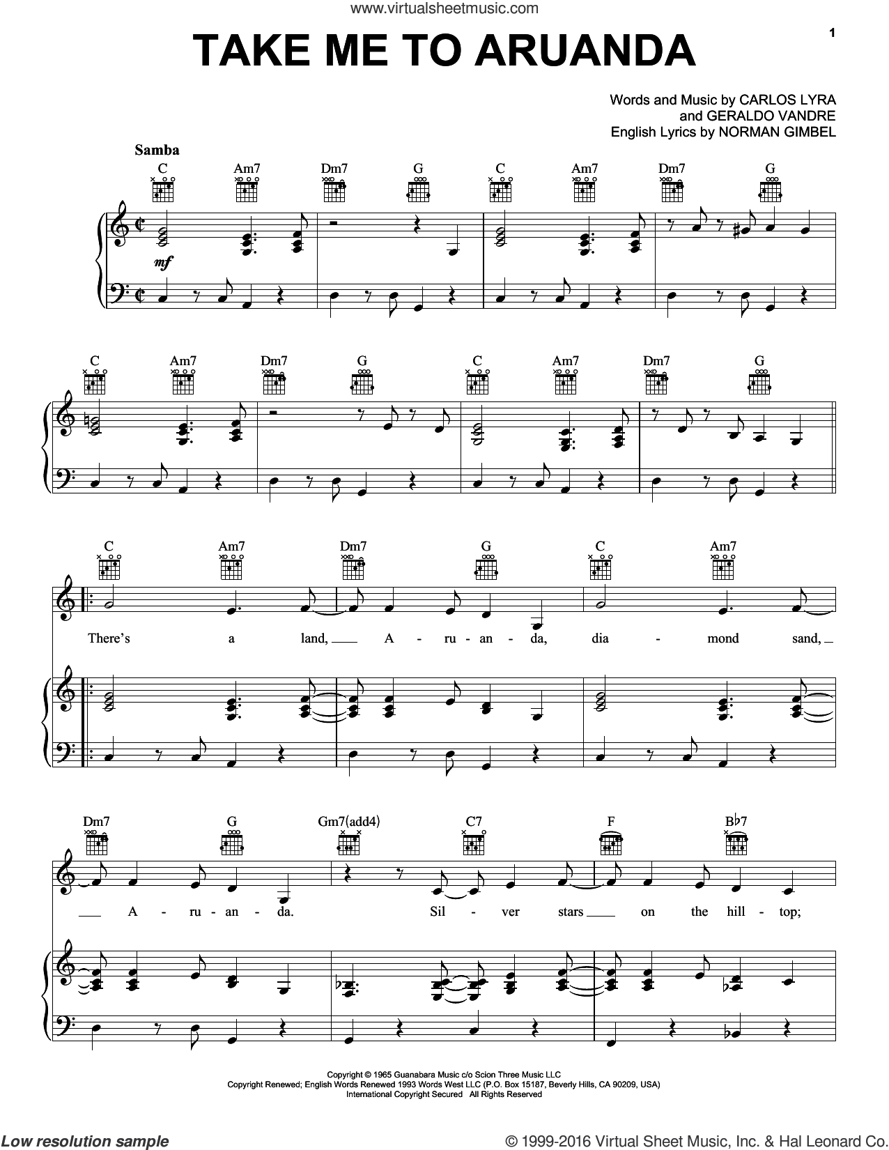Take Me To Aruanda sheet music for voice, piano or guitar by Astrud Gilberto, Carlos Lyra, Geraldo Vandre and Norman Gimbel, intermediate skill level