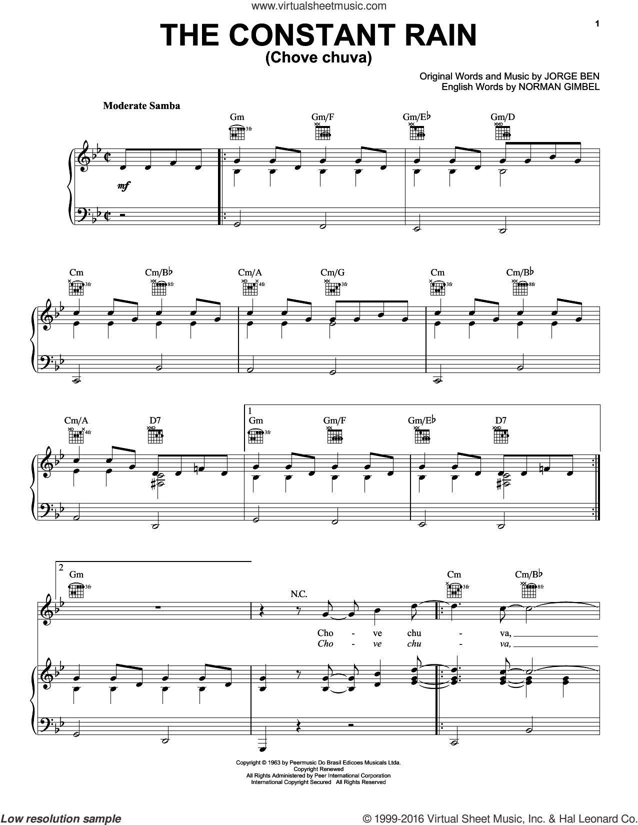 The Constant Rain (Chove Chuva) sheet music for voice, piano or guitar by Norman Gimbel and Jorge Ben, intermediate skill level