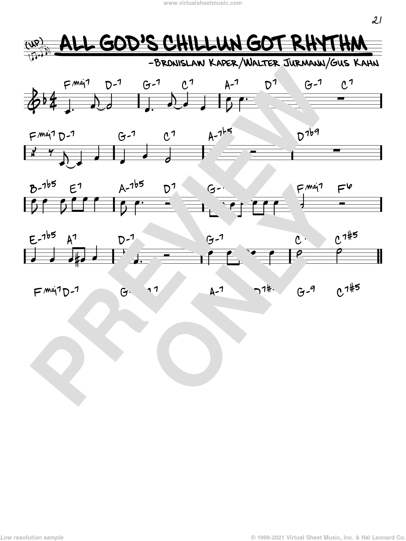 All God's Chillun Got Rhythm sheet music for voice and other instruments (real book) by Gus Kahn, Bronislau Kaper, Bronislaw Kaper and Walter Jurmann and Gus Kahn and Walter Jurmann, intermediate. Score Image Preview.