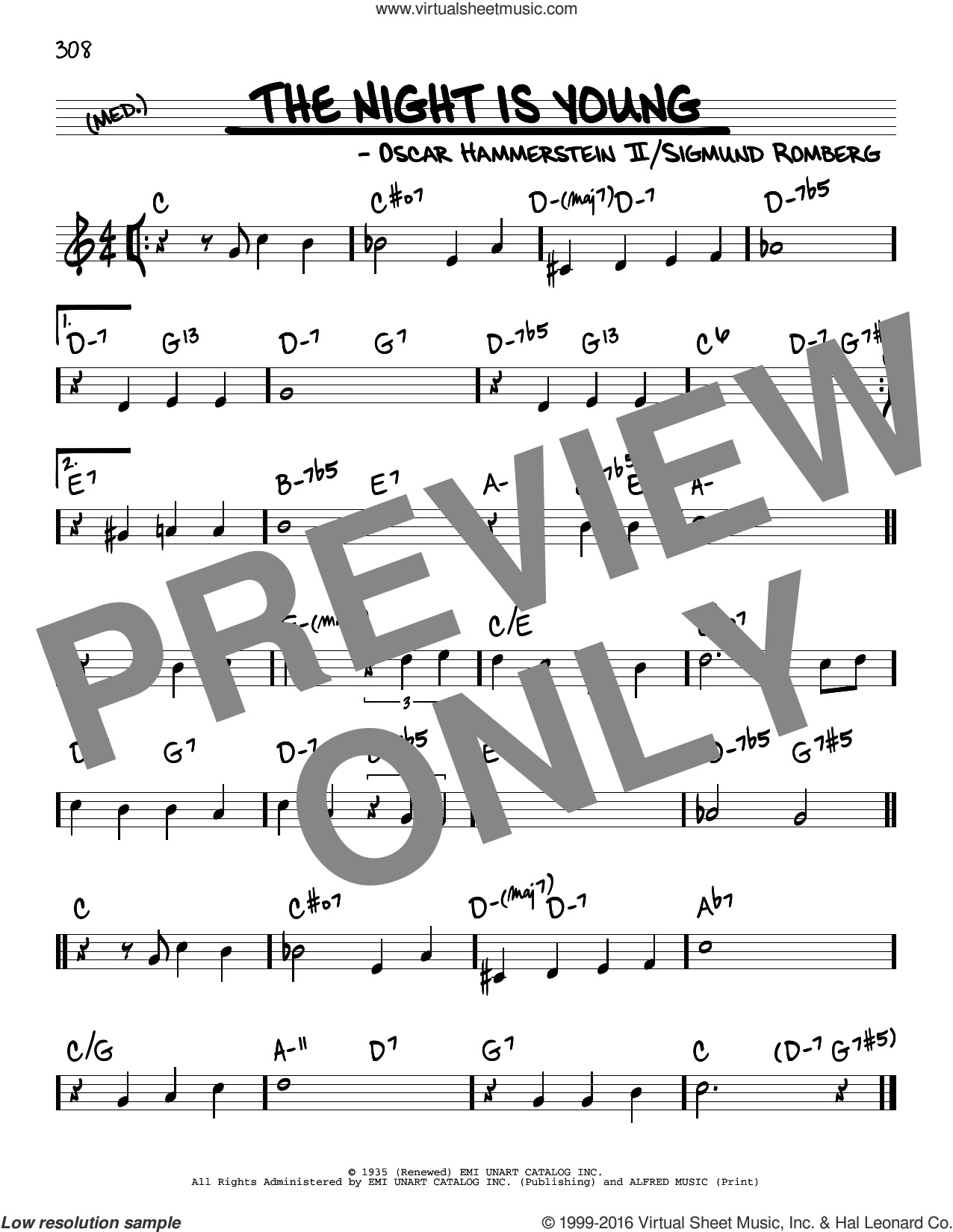 The Night Is Young sheet music for voice and other instruments (real book) by Oscar II Hammerstein and Sigmund Romberg, intermediate. Score Image Preview.
