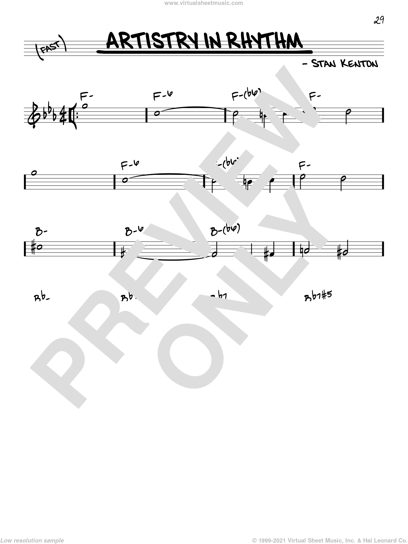 Artistry In Rhythm sheet music for voice and other instruments (real book) by Stan Kenton, intermediate skill level