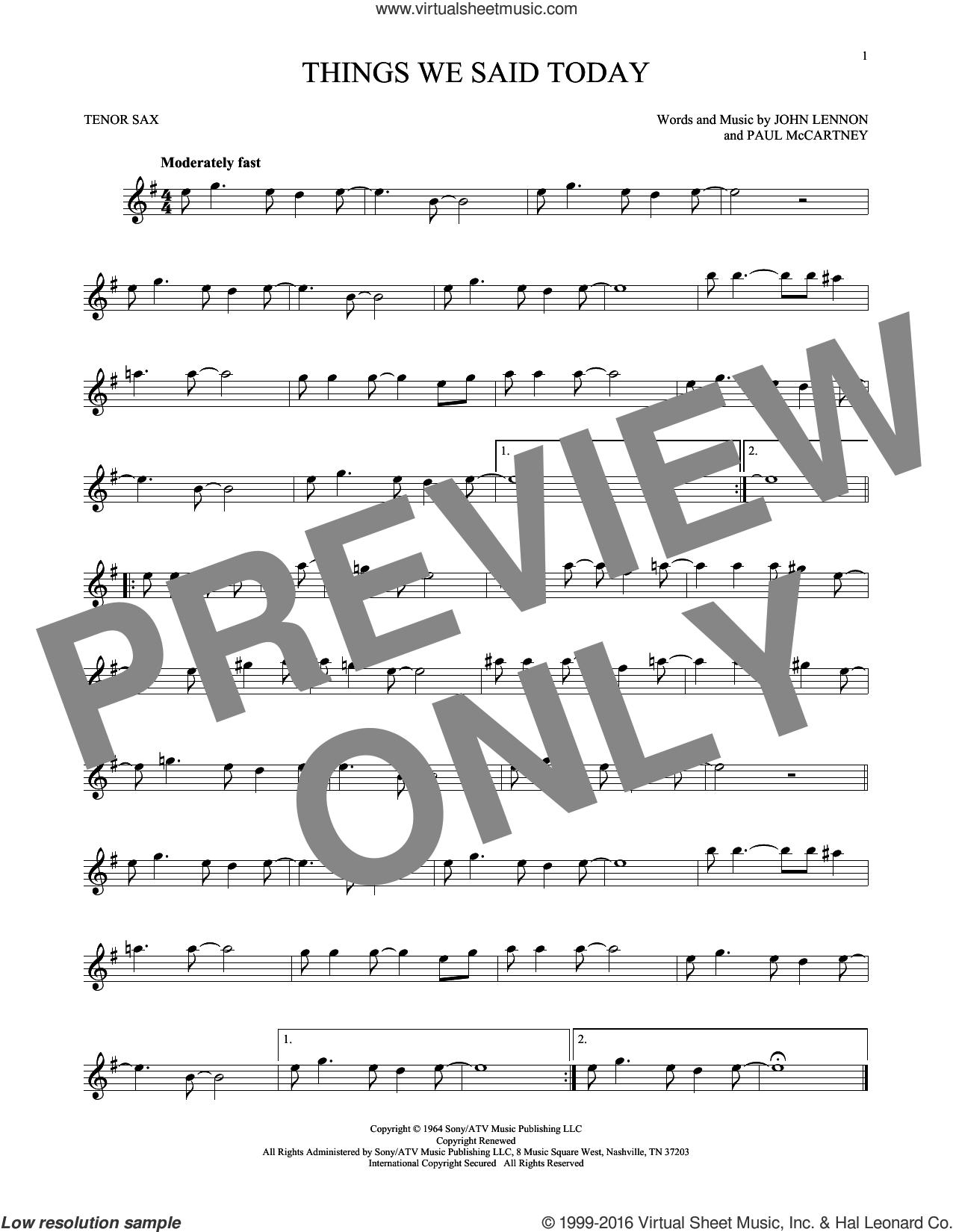 Things We Said Today sheet music for tenor saxophone solo by Paul McCartney, The Beatles and John Lennon. Score Image Preview.