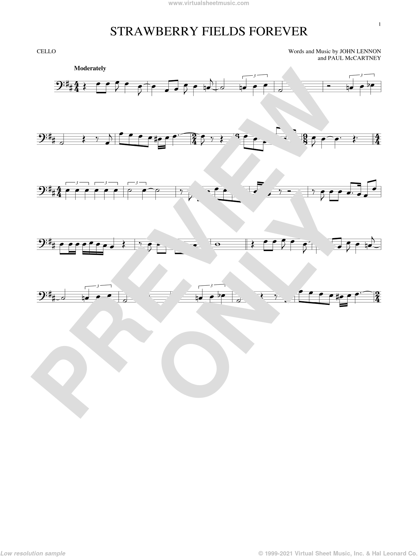 Strawberry Fields Forever sheet music for cello solo by The Beatles, John Lennon and Paul McCartney, intermediate skill level