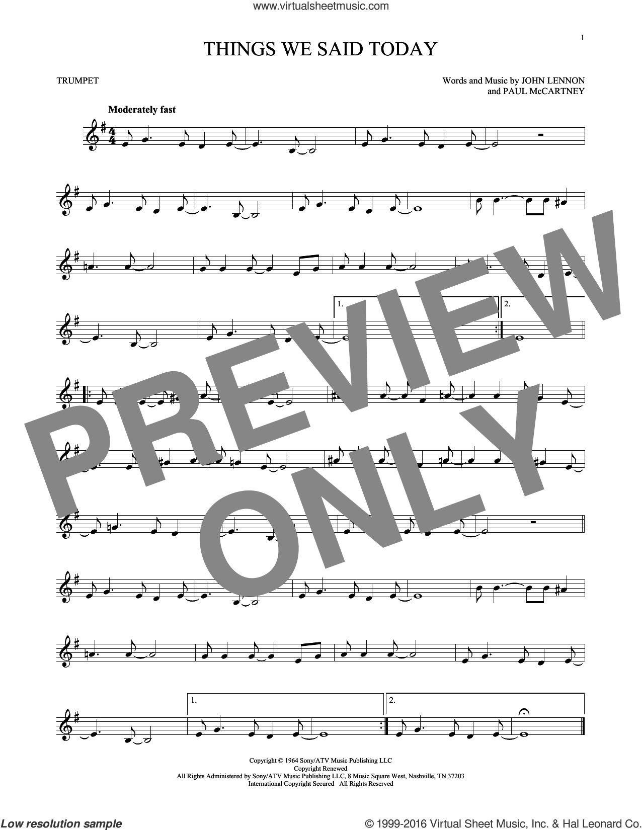 Things We Said Today sheet music for trumpet solo by The Beatles, John Lennon and Paul McCartney, intermediate. Score Image Preview.