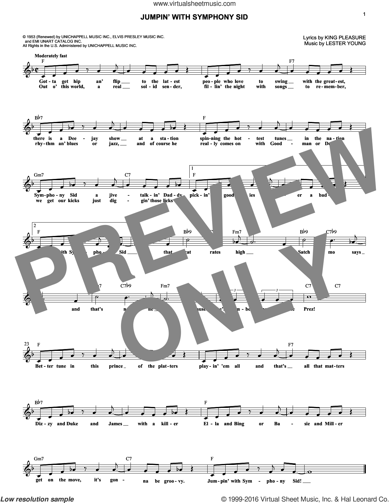 Jumpin' With Symphony Sid sheet music for voice and other instruments (fake book) by Lester Young and Buddy Feyne, intermediate skill level