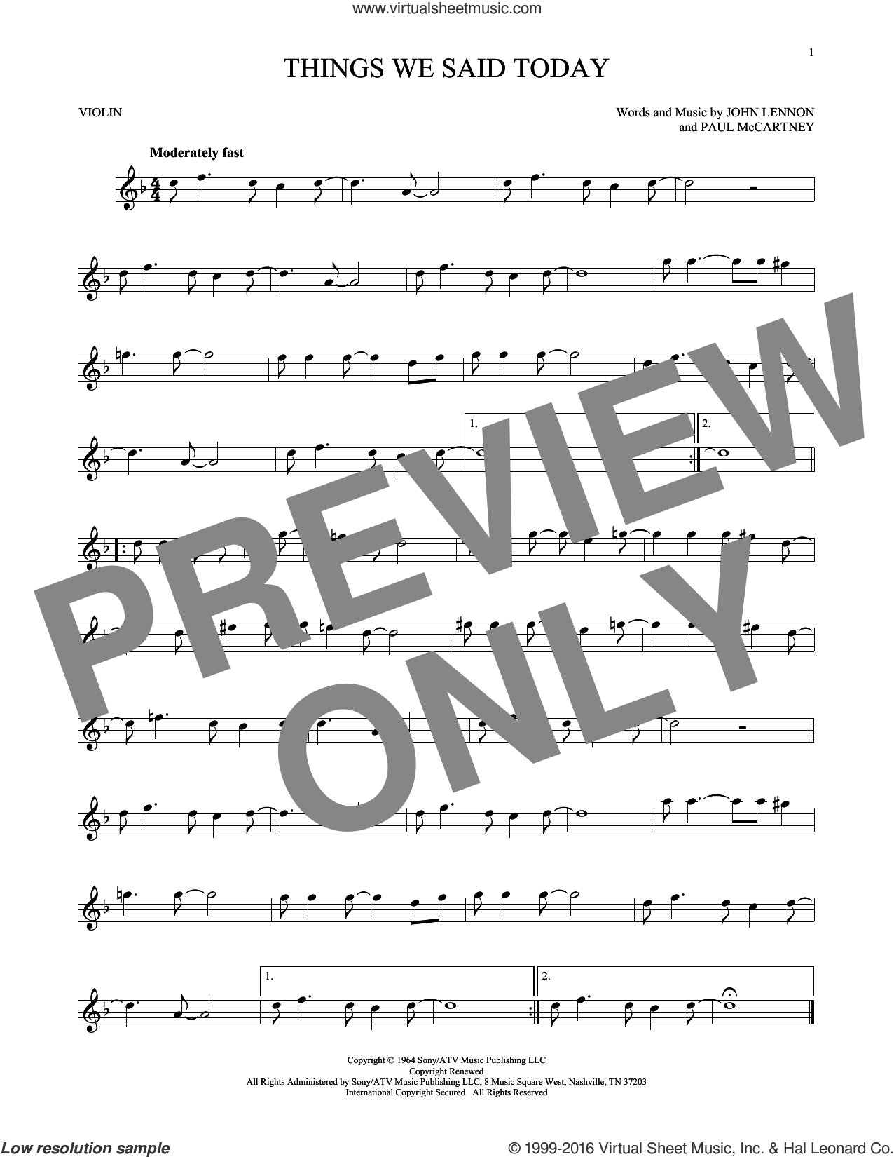 Things We Said Today sheet music for violin solo by The Beatles, John Lennon and Paul McCartney, intermediate skill level