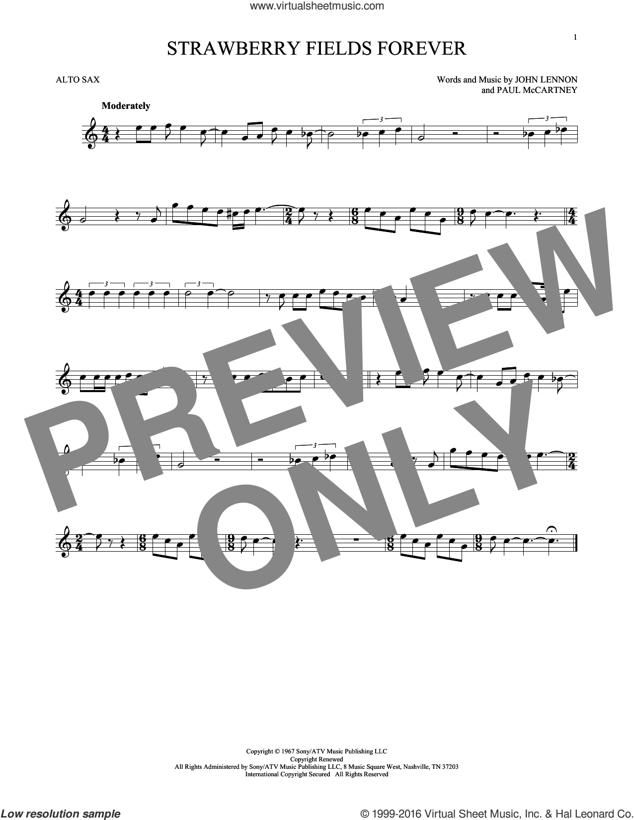 Strawberry Fields Forever sheet music for alto saxophone solo by The Beatles, John Lennon and Paul McCartney, intermediate skill level